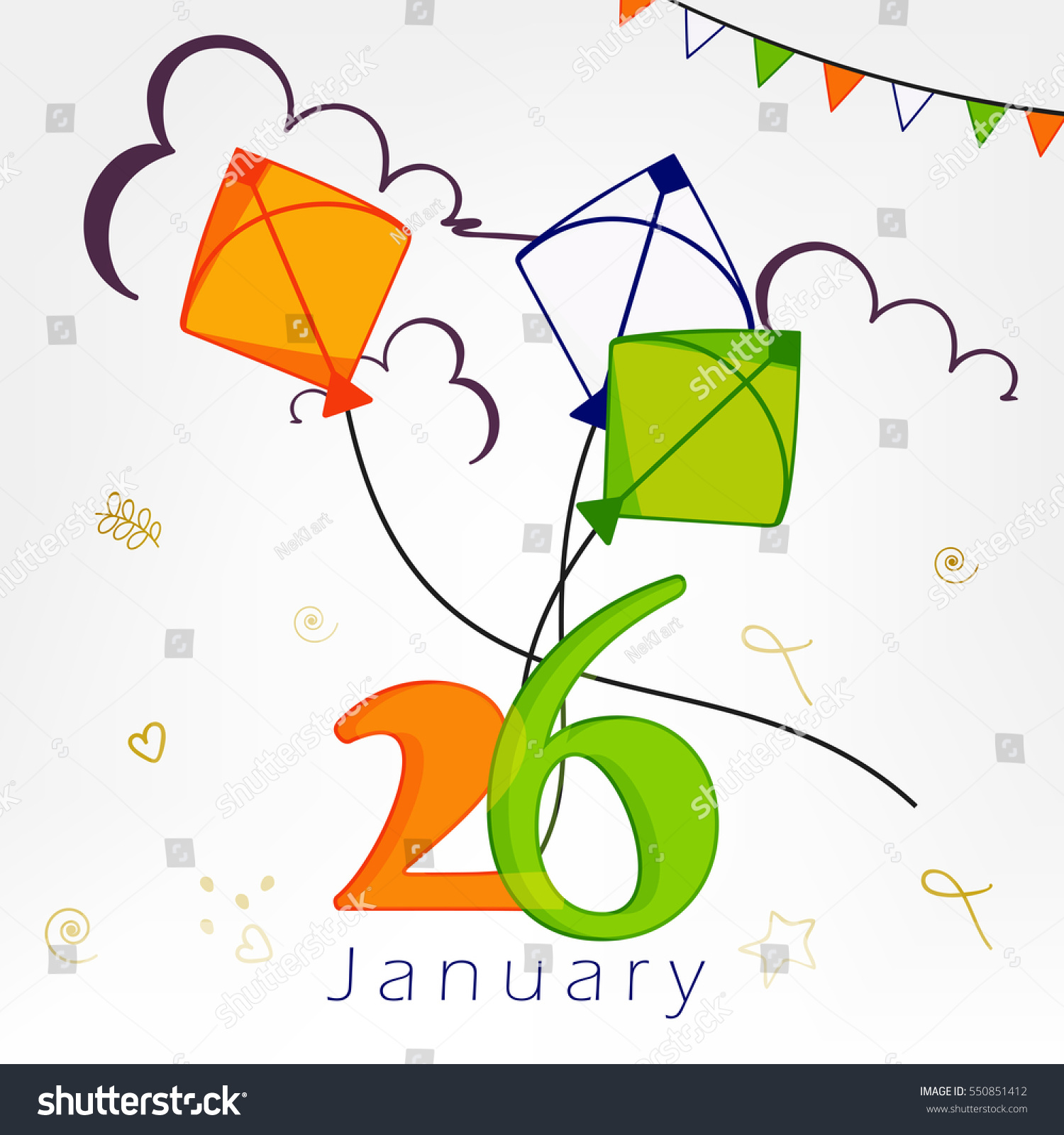Creative Text 26th January Tri Color Kites Stock Vector (Royalty ...