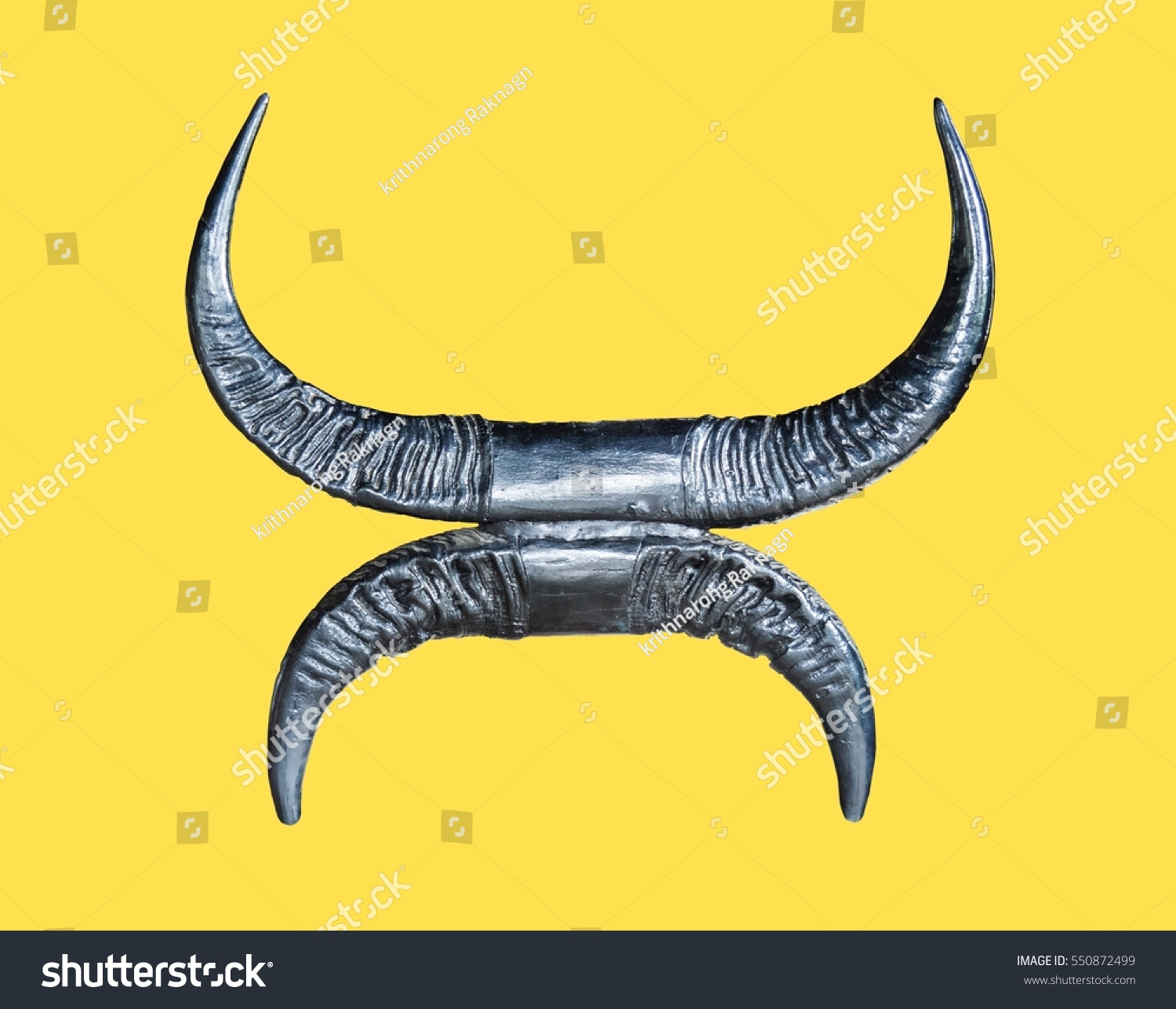 Wild Animal Horns in Art Form Isolated on Yellow Background | EZ Canvas