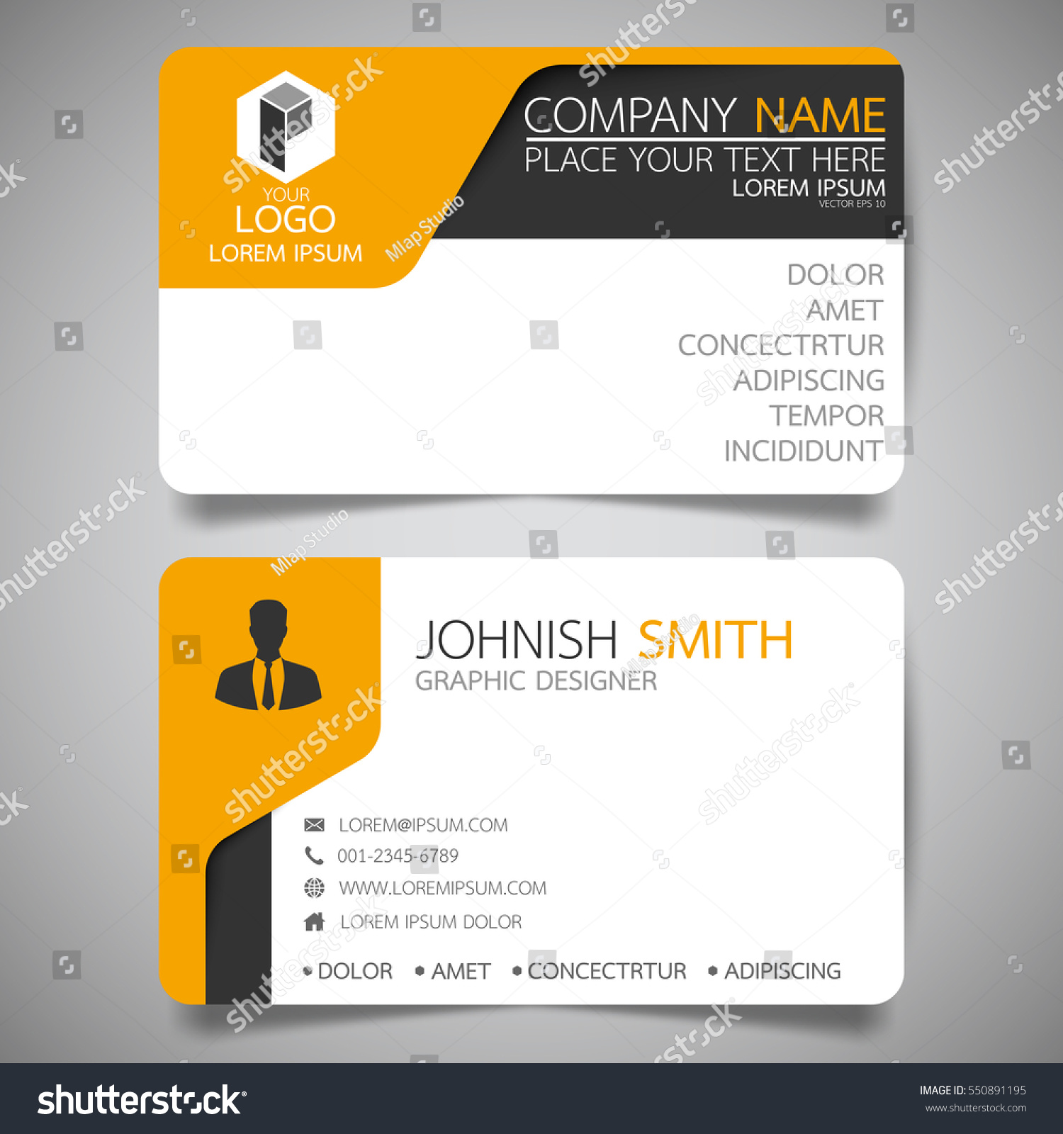 yellow modern creative business card name stock vector