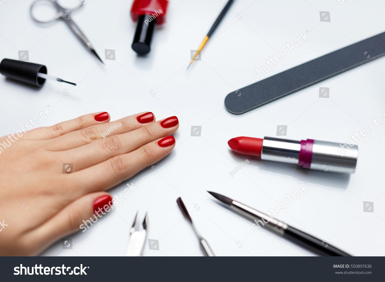 Professional Manicure Closeup Beautiful Womans Nails Stock Photo ...