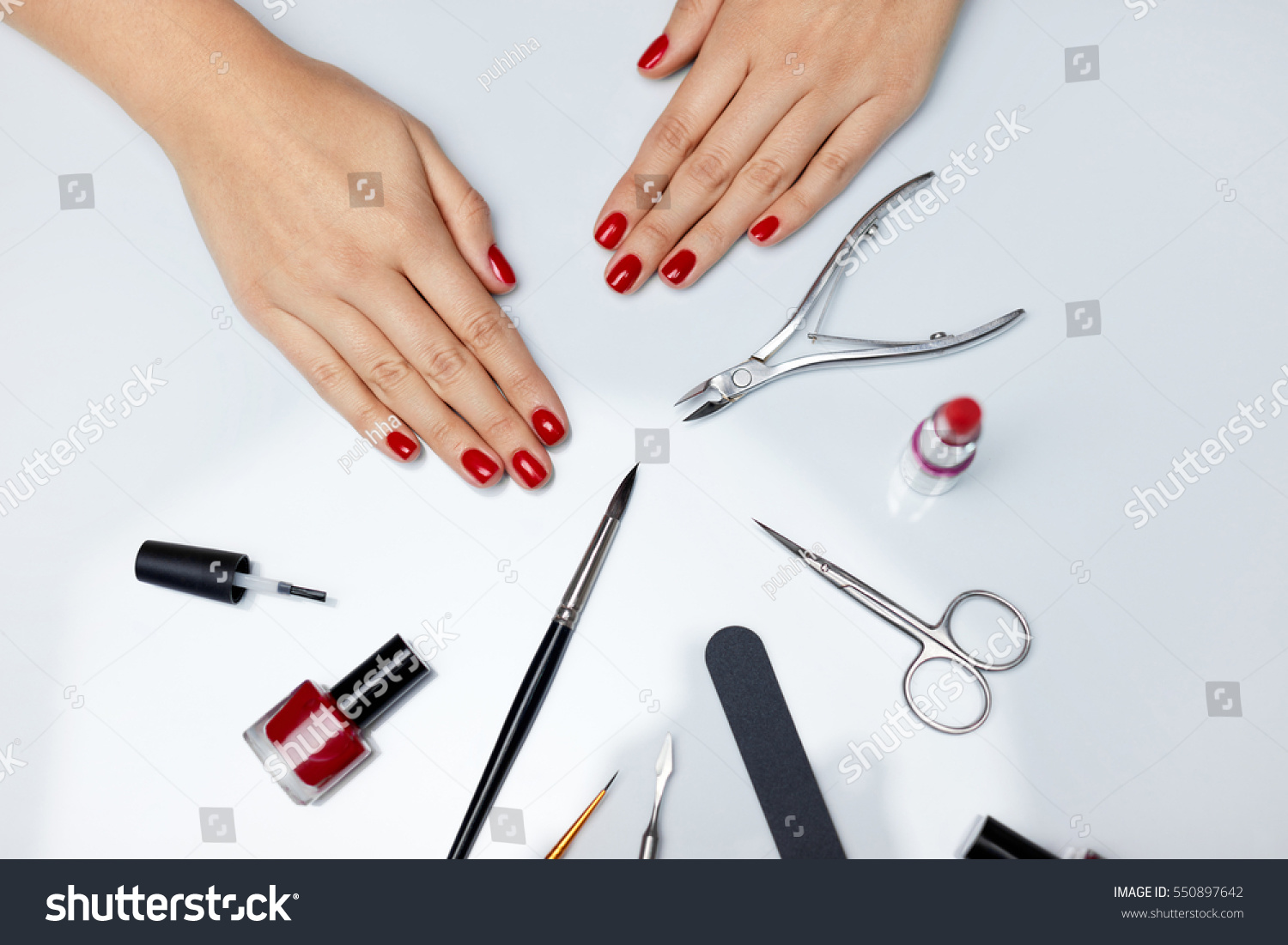 Woman Hands Care Top View Beautiful Stock Photo (Royalty Free ...