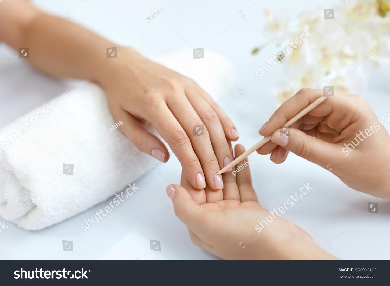 Nail Salon Closeup Beautician Hands Cleaning Stock Photo (Royalty ...
