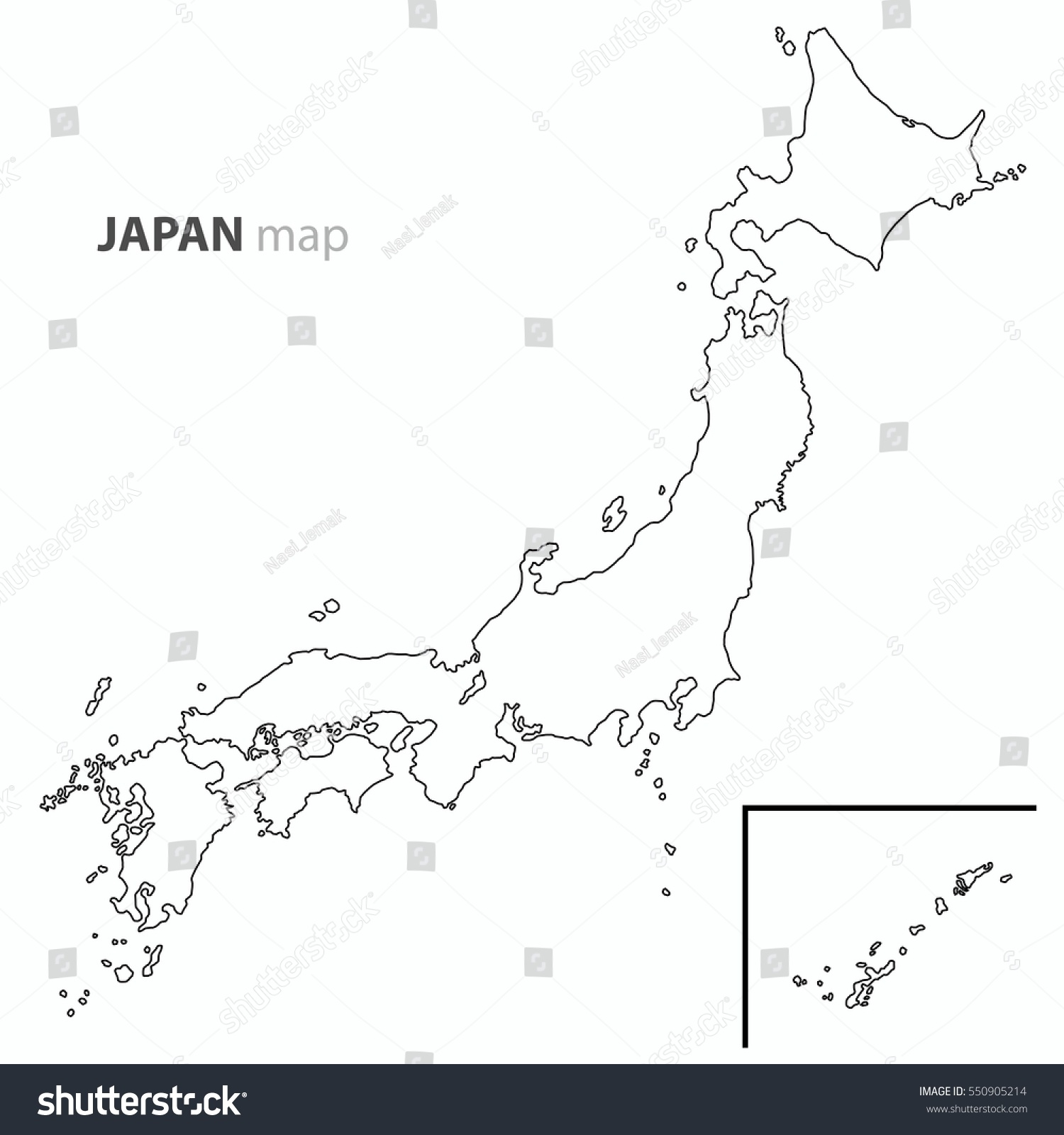 Japan Map Country Outline Vector Stock Vector Shutterstock - Japan map outline