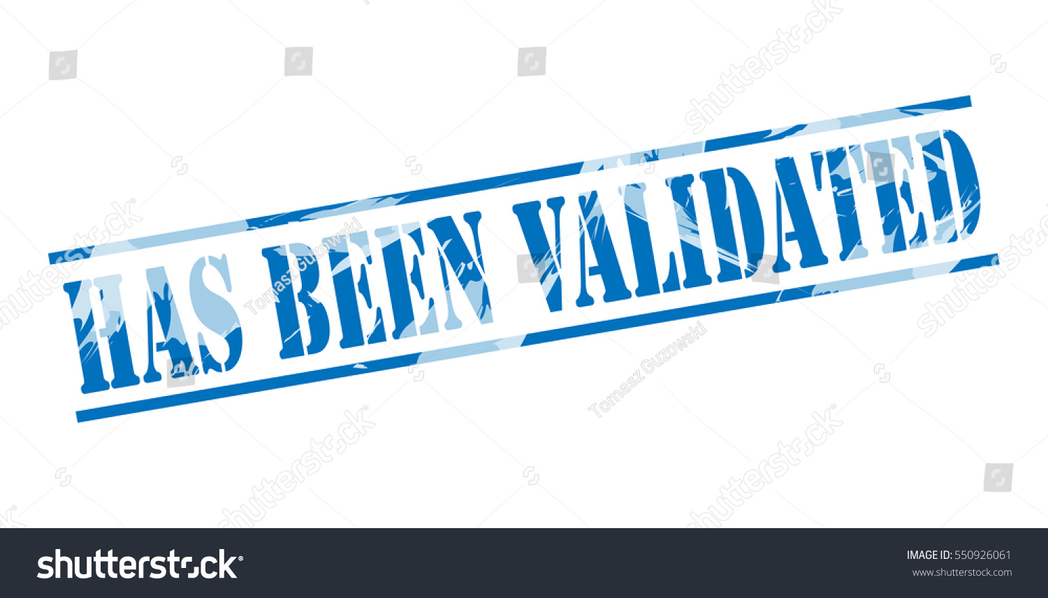 Has Been Validated Blue Stamp On White Background