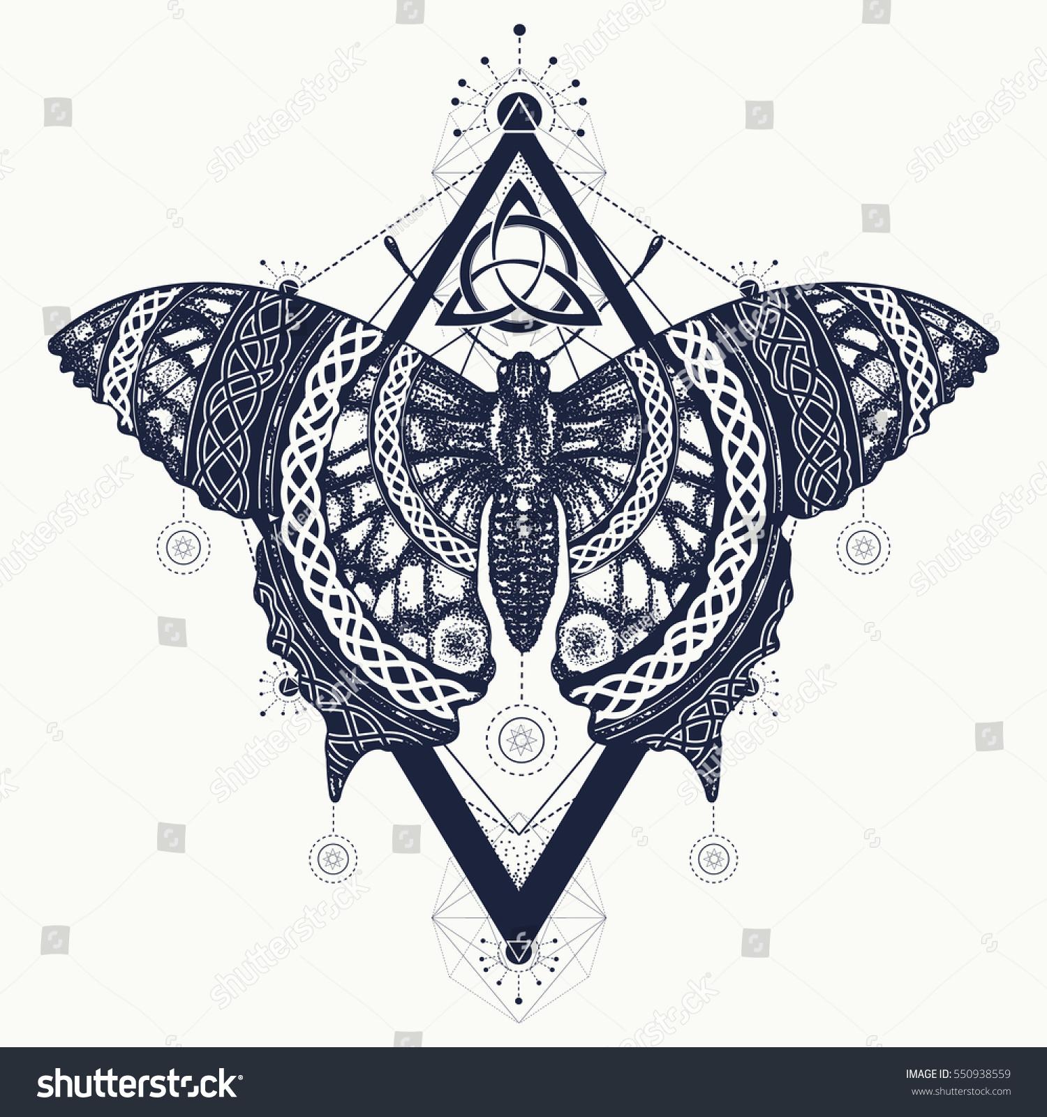 2343622a1 Mystical symbol of freedom, nature, tourism. Beautiful Swallowtail boho t-shirt  design