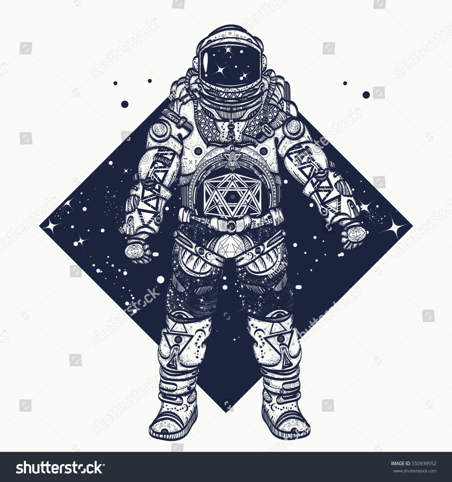 Astronaut Tattoo Cosmonaut Deep Space Triangular Stock Vector Royalty Free 550939552