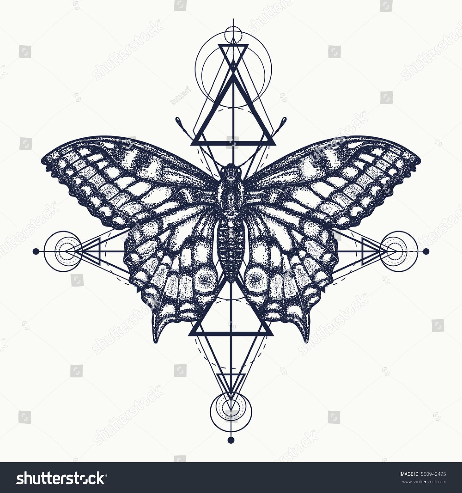 Butterfly Tattoo Geometrical Style Beautiful Swallowtail Stock