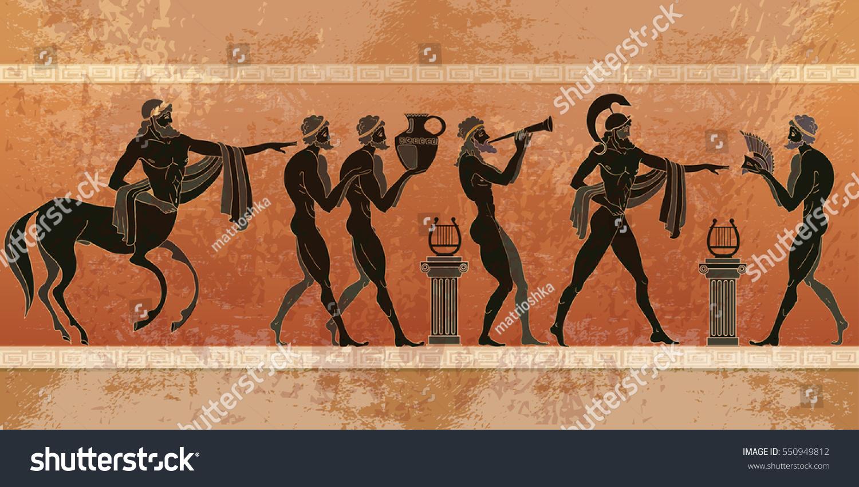 ancient greece scene black figure pottery stock vector 550949812
