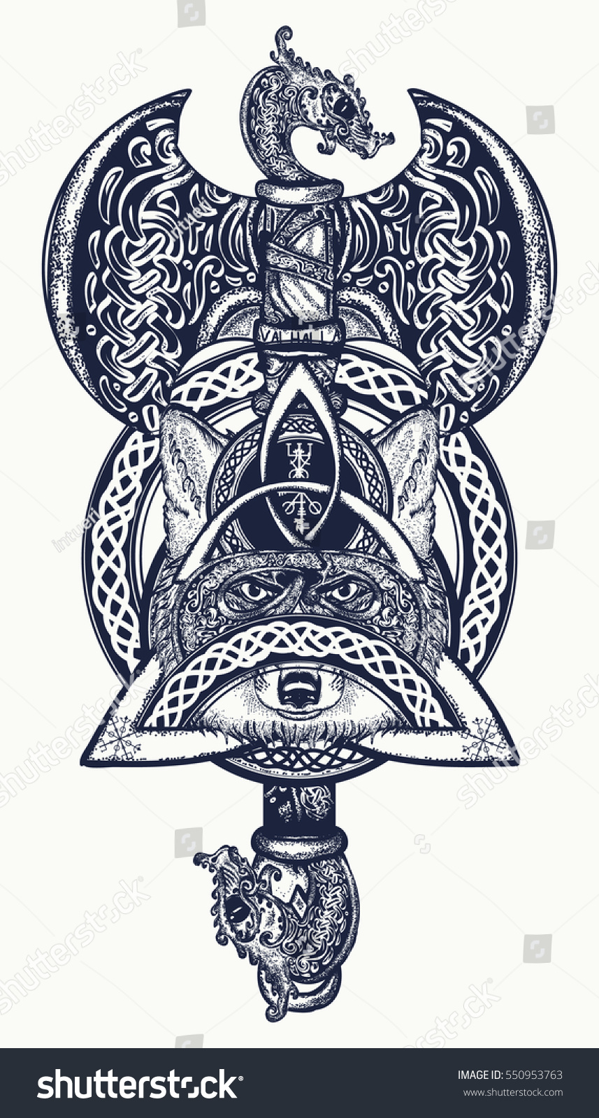 thors hammer tattoo axe viking warrior stock vector 550953763 shutterstock. Black Bedroom Furniture Sets. Home Design Ideas