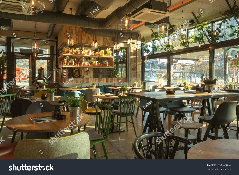 Interior modern urban restaurant morning sunlight stock