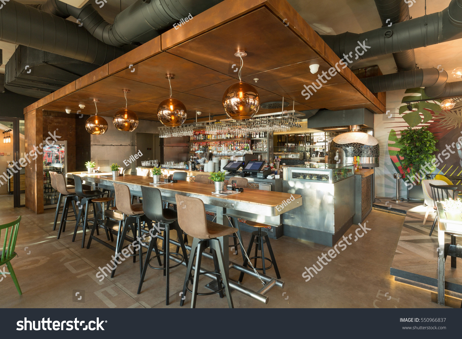 Bar counter restaurant interior stock photo