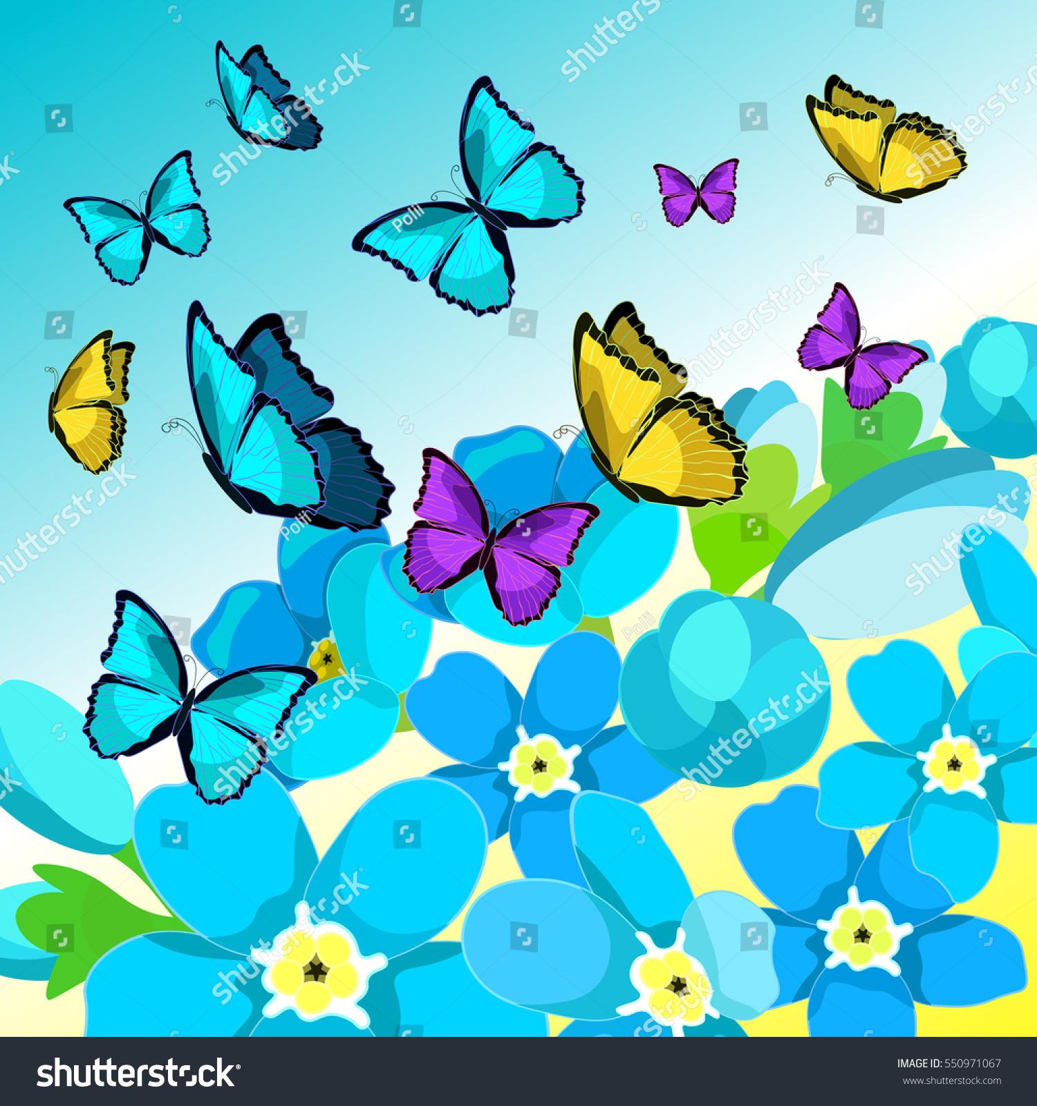 blue morpho butterfly monarch forgetmenot flowers stock vector 550971067 shutterstock. Black Bedroom Furniture Sets. Home Design Ideas