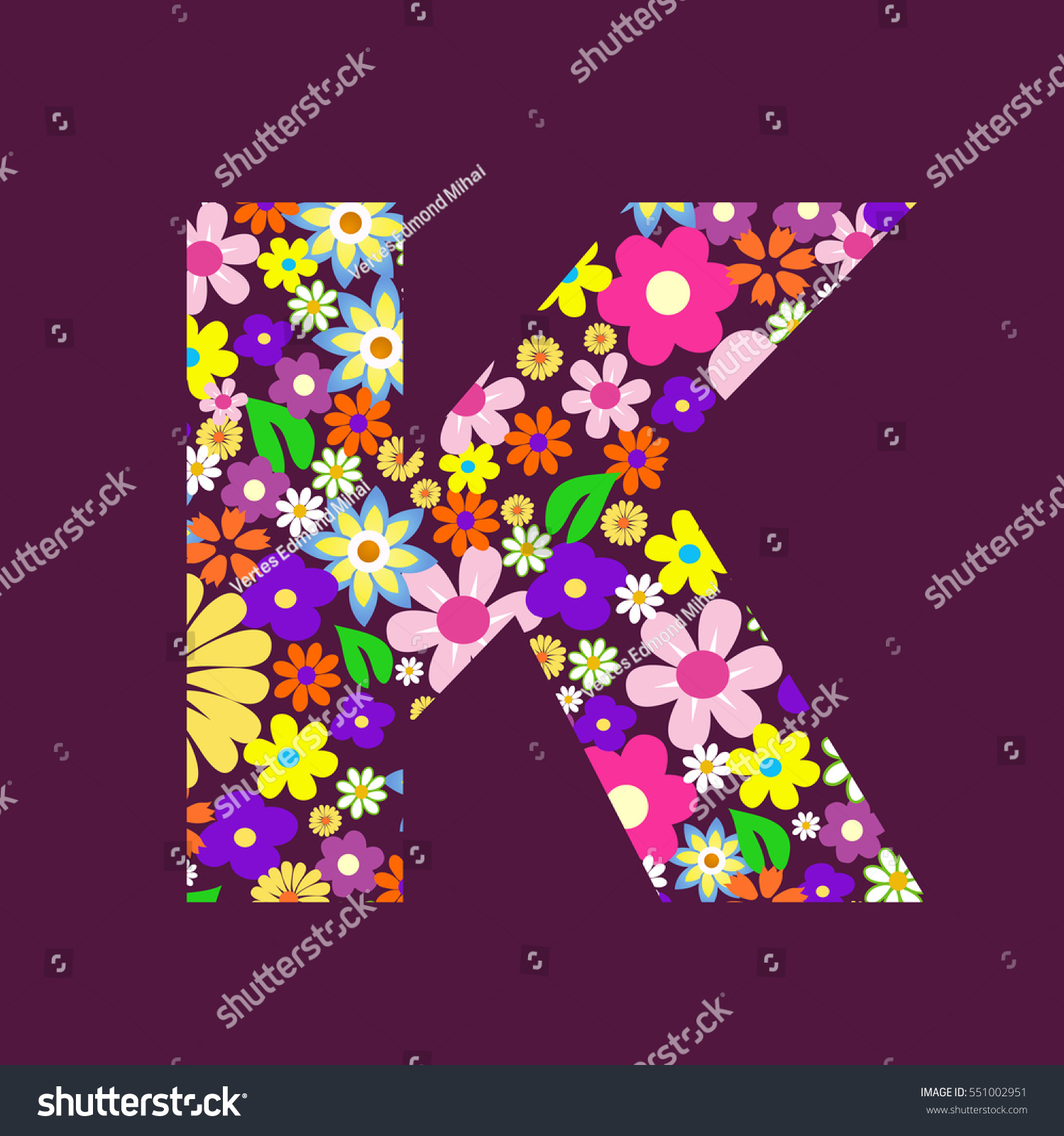 Letter Beautiful Flowers K Stock Vector Royalty Free 551002951