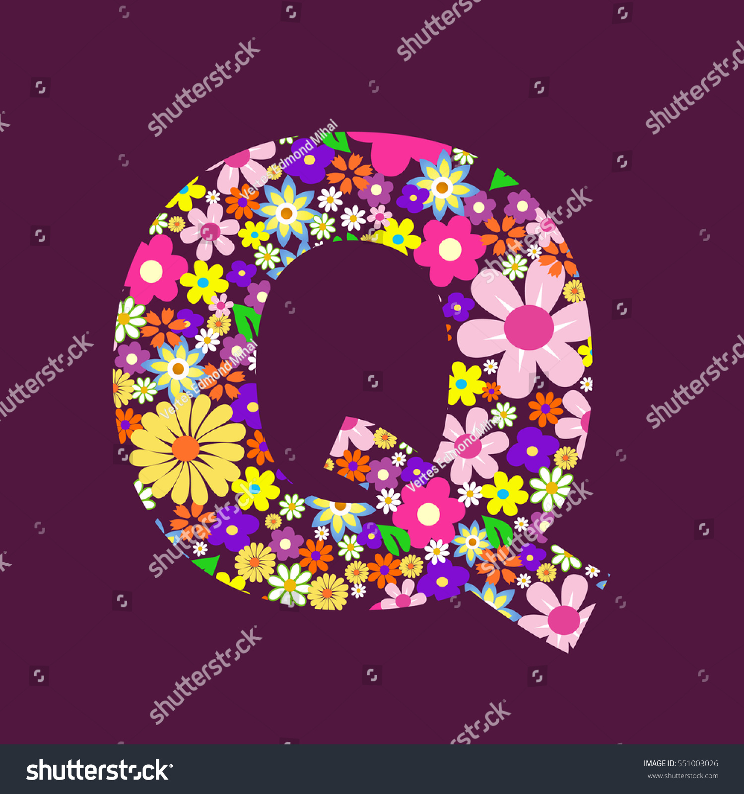 Letter of beautiful flowers Q