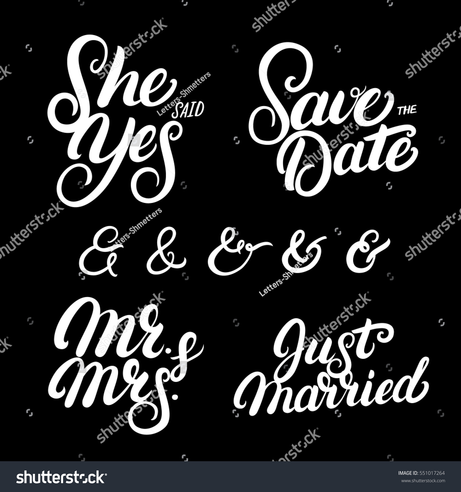 Set Hand Written Lettering Wedding Quotes Stock Vector Royalty Free