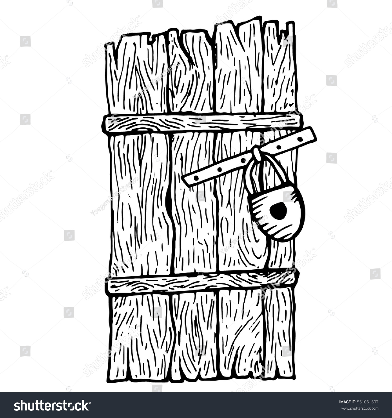closed door drawing. Black And White Closed Old Wooden Door. Vector Illustration. Barn Door With A Padlock Drawing