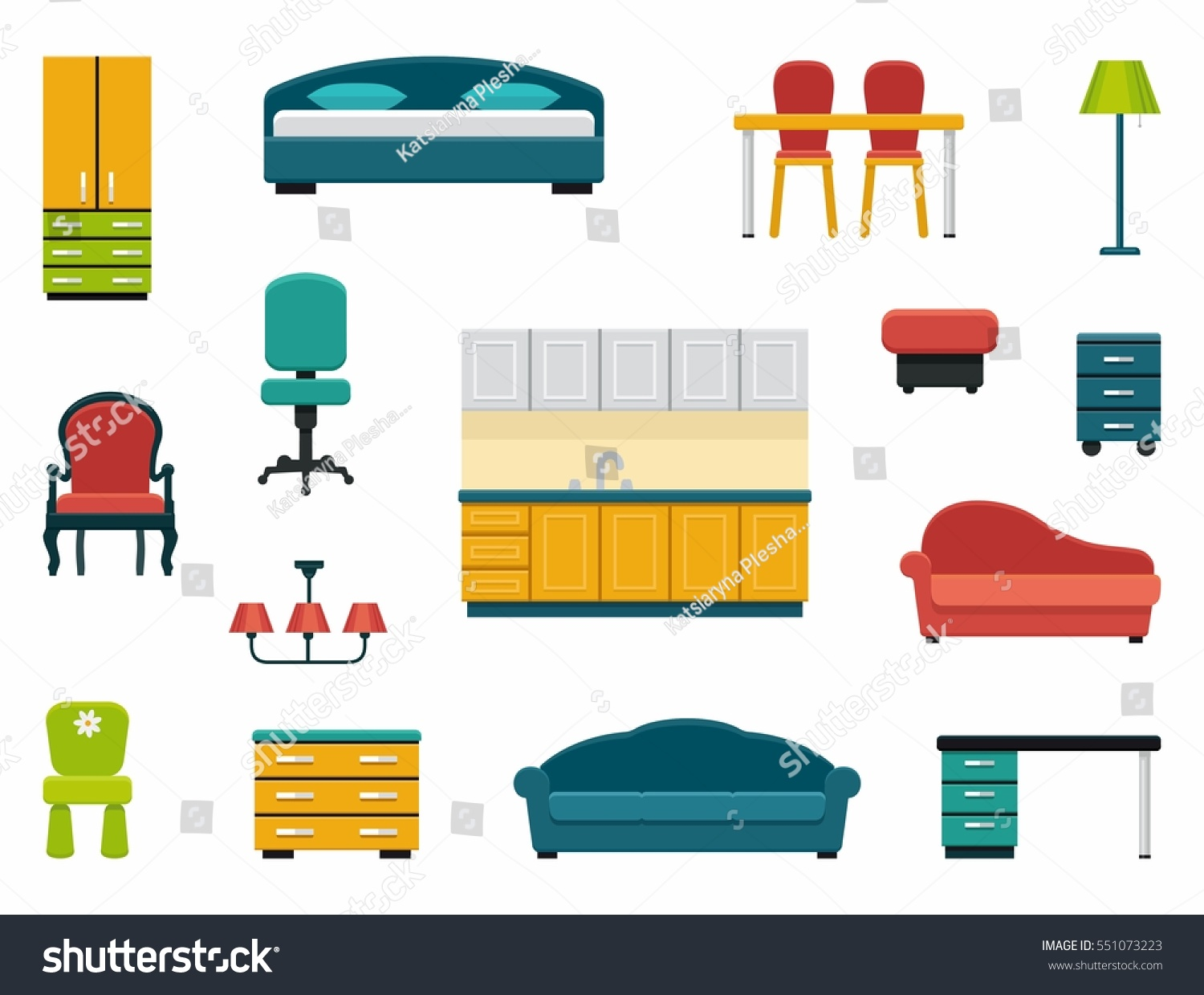 kinds of furniture. Icons Various Kinds Furniture Home Office Stock Vector 551073223 Of O