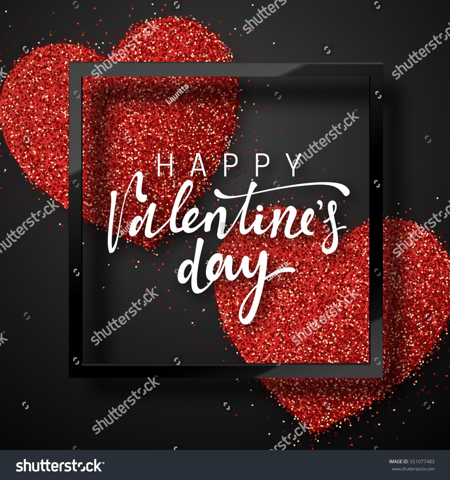 Happy Valentines Day Lettering Greeting Card Stock-Vektorgrafik ...