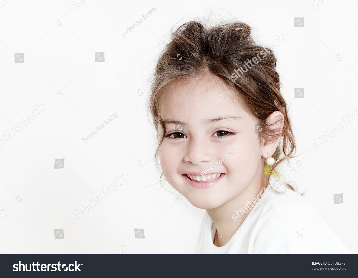 Happy Little Girl On White Background Stock Photo 55108372 ...