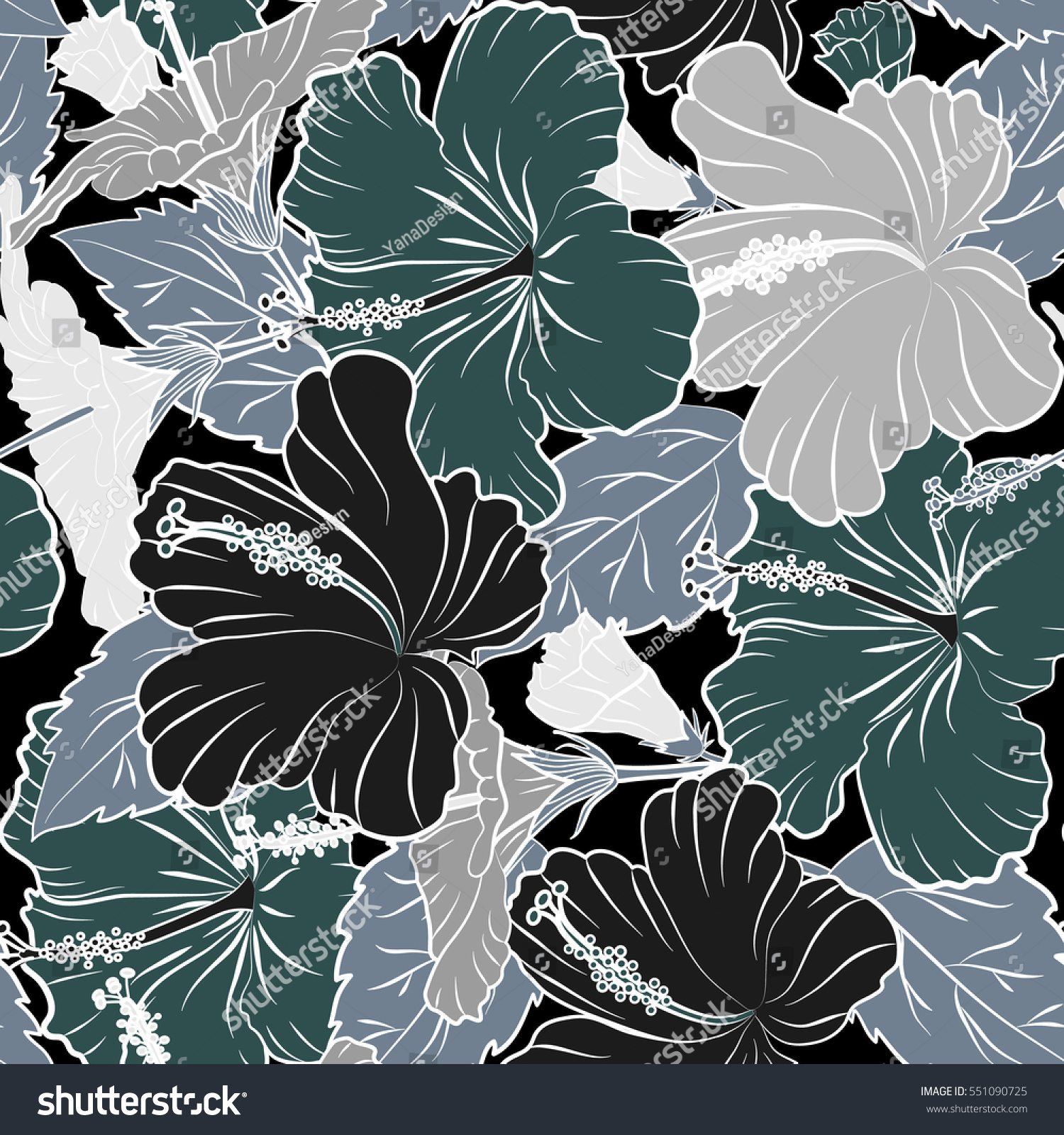 Bright Hawaiian Seamless Pattern With Tropical Hibiscus Flowers On