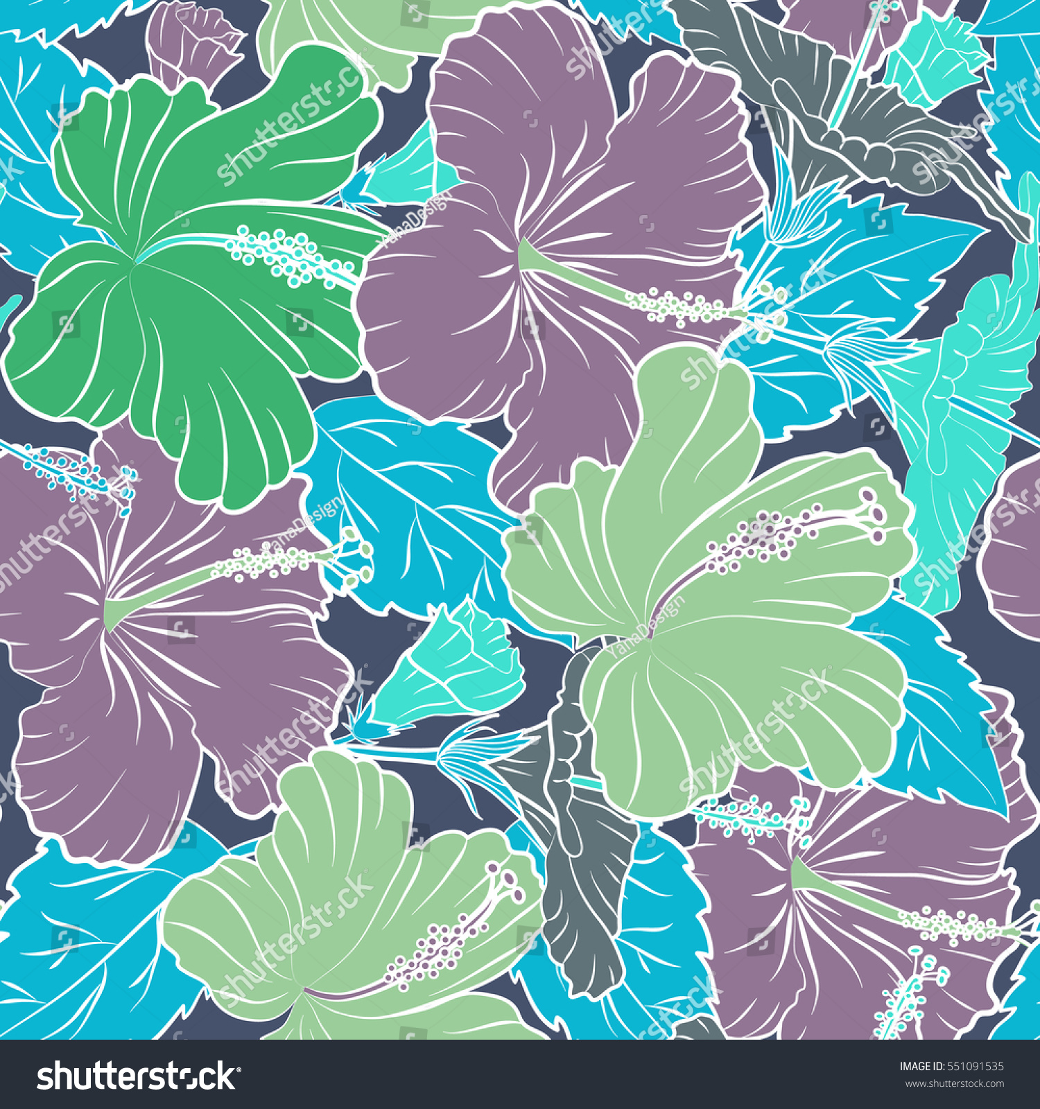 Vector Floral Seamless Pattern Various Multicolor Hibiscus Hawaiian Tropical Flowers And Leaves On A Blue