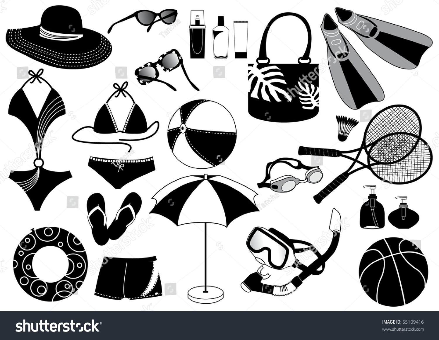 Clothes Things Beach Vector Summer Symbol Stock Illustration ...