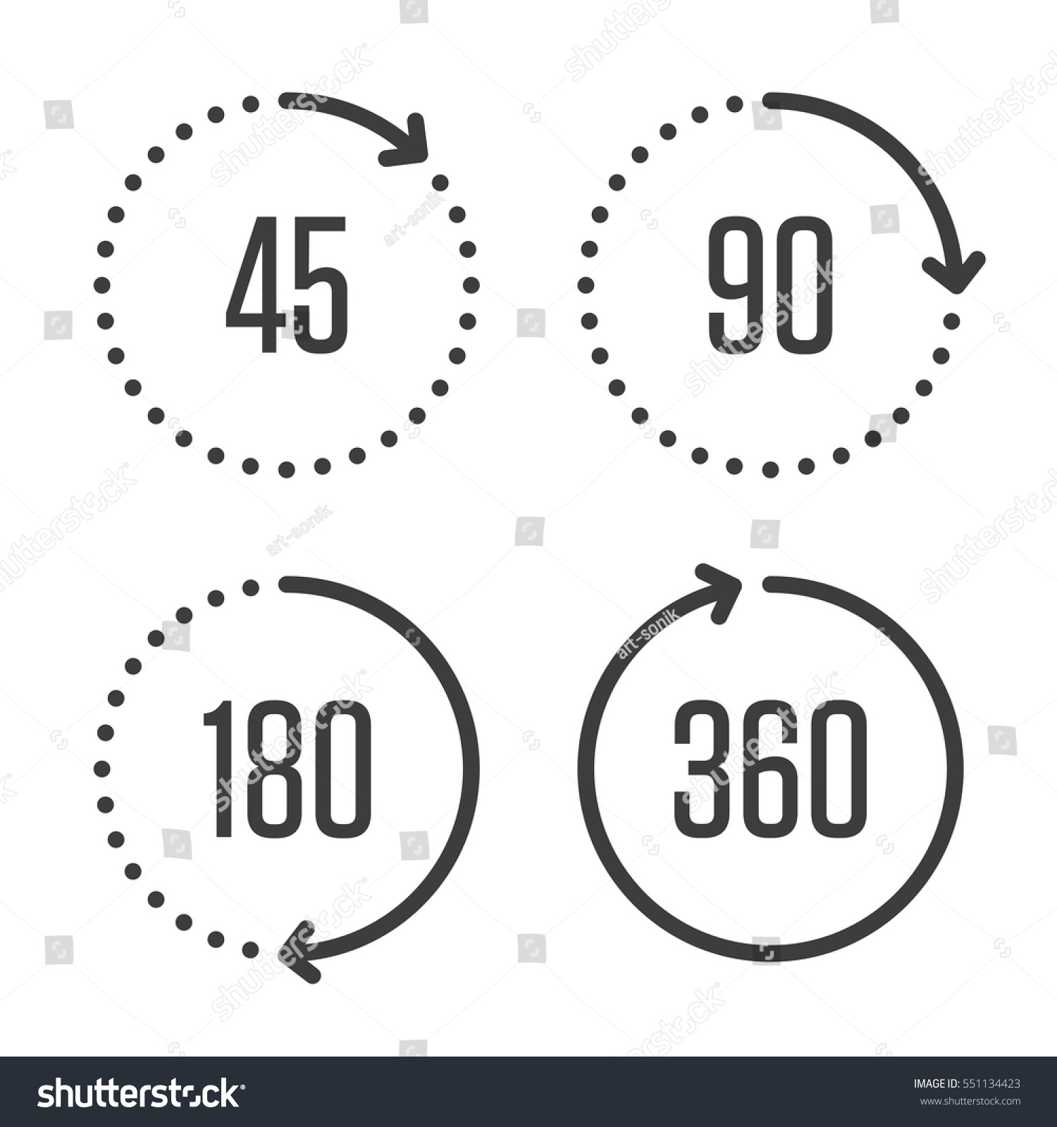 Set Angles 45 90 180 360 Stock Vector Royalty Free 551134423 Degree Compass Diagram Of And Degrees Icons Arrows Rotation Circle