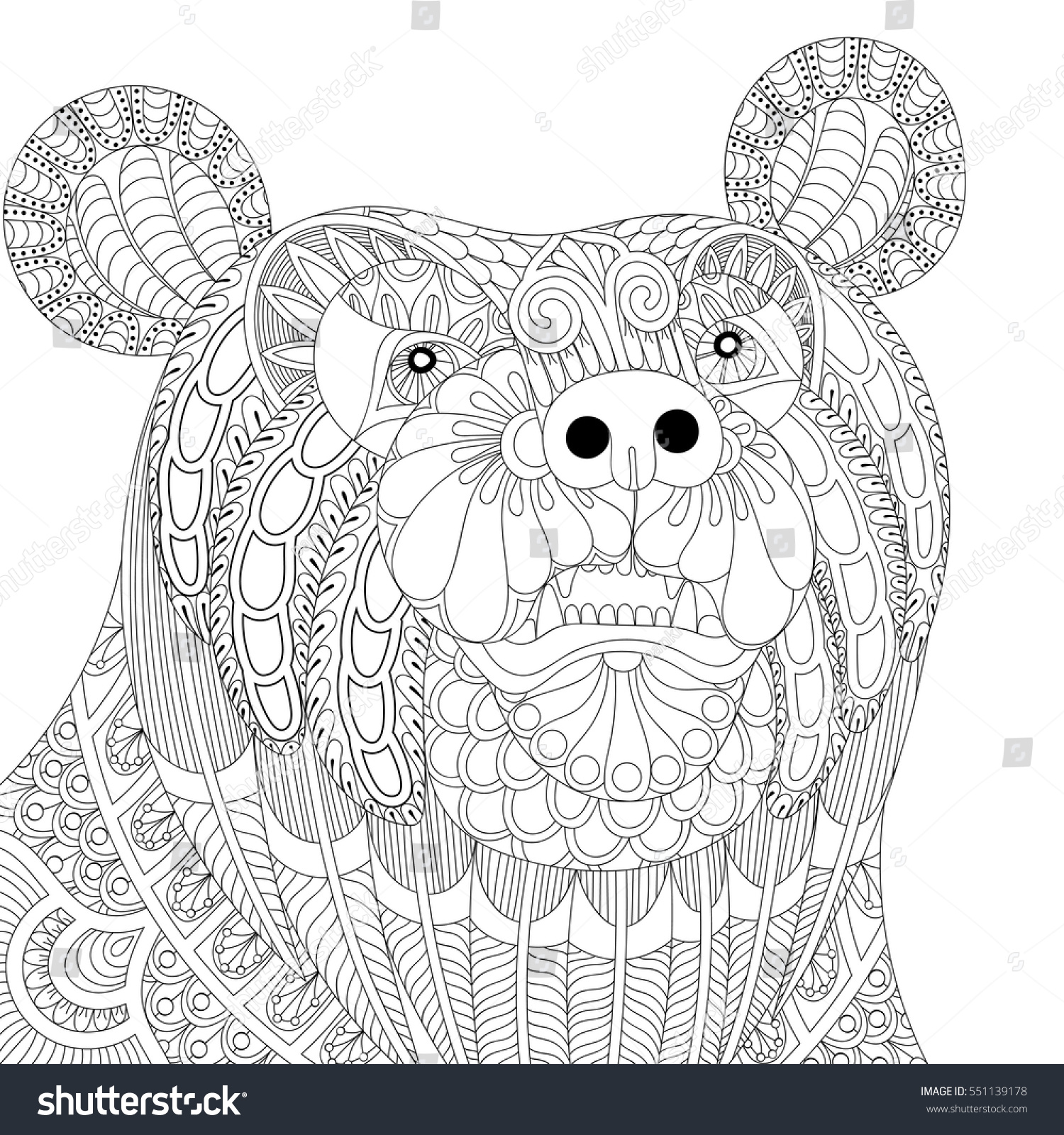 Zen colouring book animals - Vector Zentangle Bear Head For Adult Anti Stress Coloring Pages Book Animal Face For Art Download Image Zen Colouring