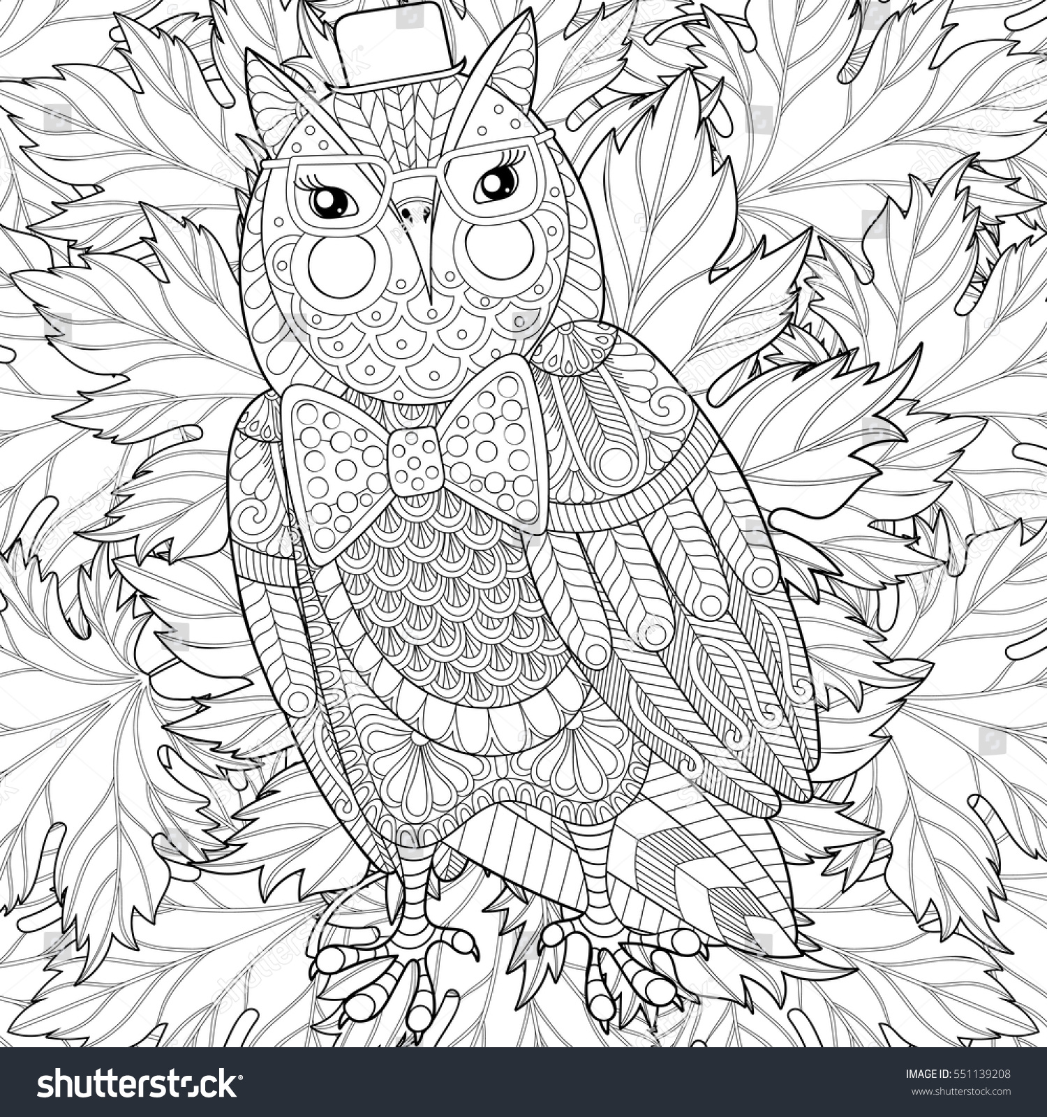 zentangle owl painting anti stress stock vector 551139208
