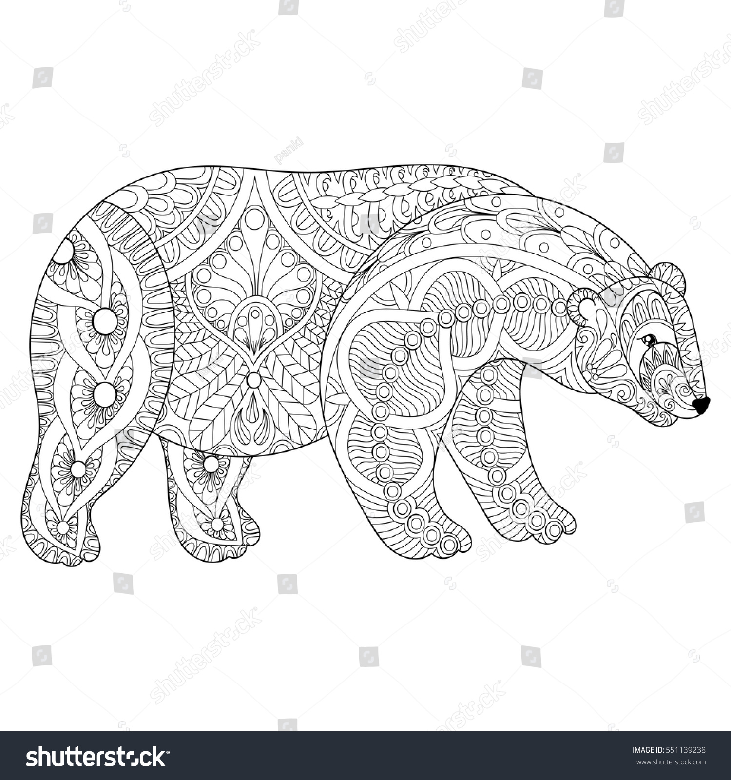 vector zentangle polar bear head stock vector 551139238