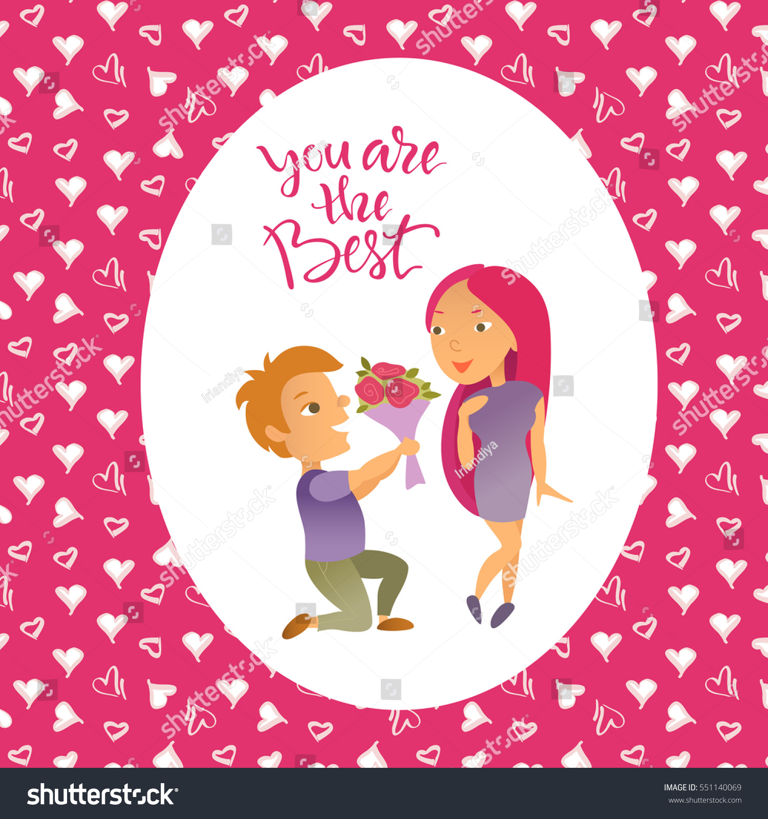 Vector illustration valentines day greeting card stock vector vector illustration valentines day greeting card cartoon characters lovers man and woman kristyandbryce Choice Image