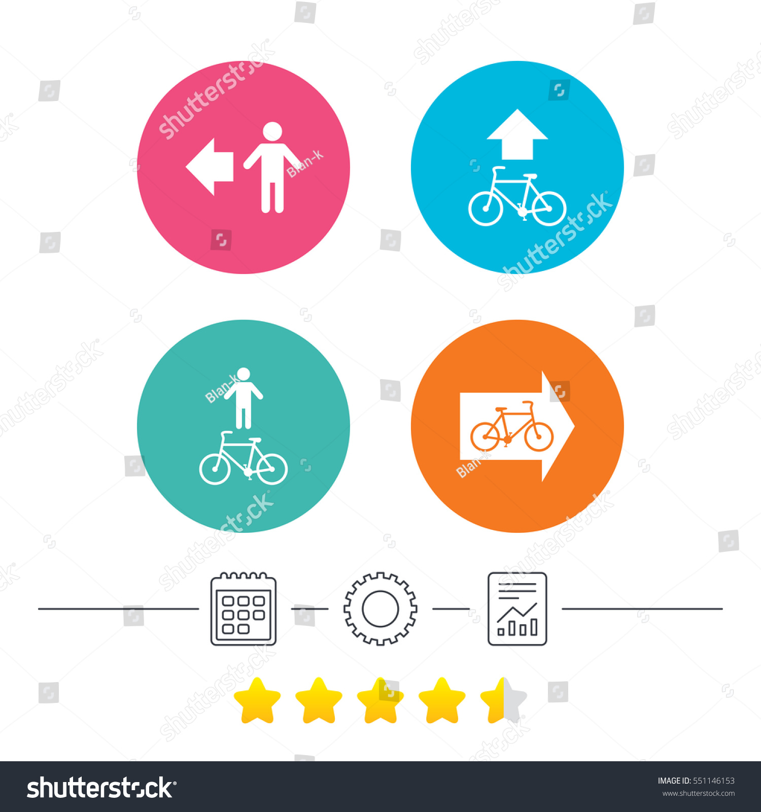stock vector pedestrian road icon bicycle path trail sign cycle path arrow symbol calendar cogwheel and 551146153 pedestrian road icon bicycle path trail stock vector (royalty free