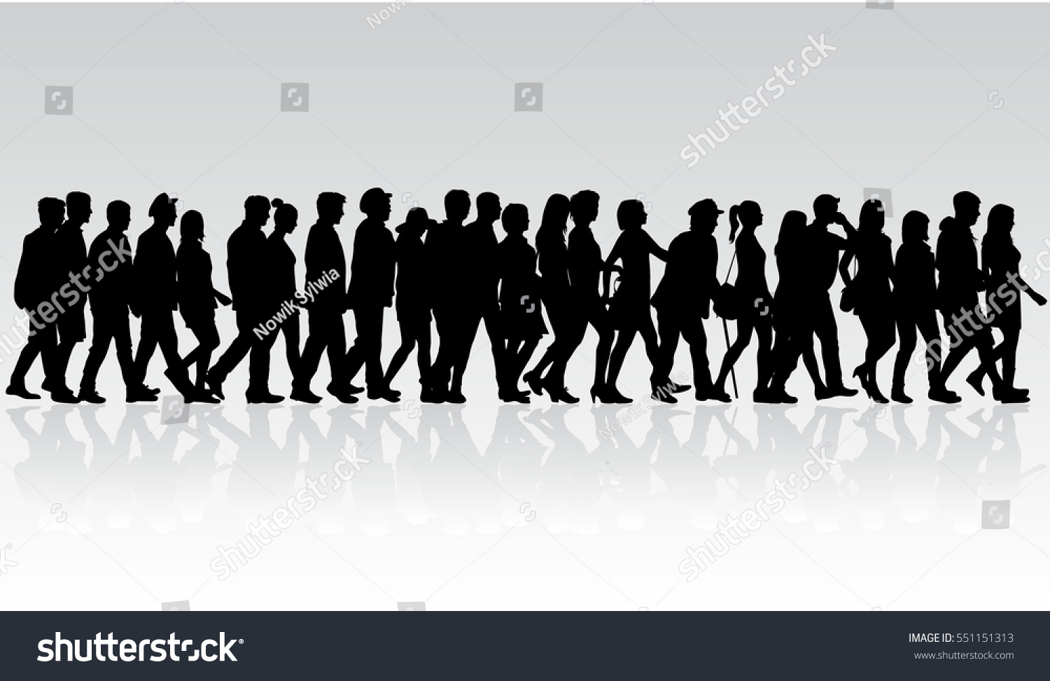 Standing crowd silhouette - photo#44