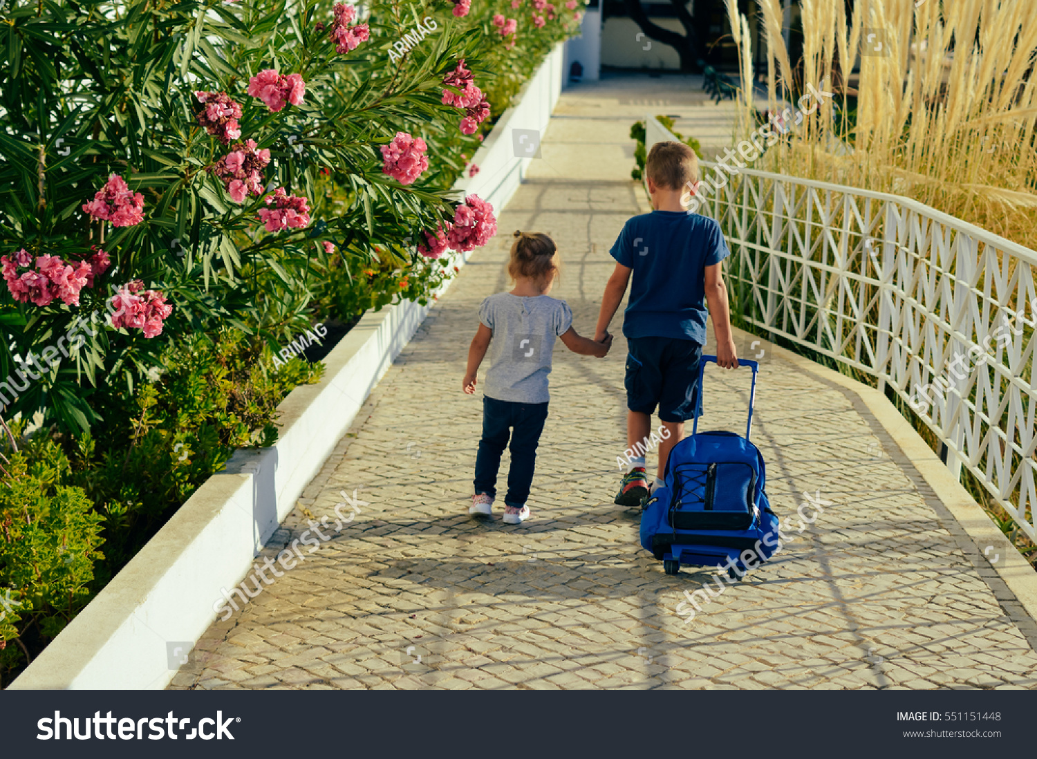 Back View Children Holding Hands Walk Stock Photo Edit Now On Electricity It Walks Kids Through The Nature Of And Together Road Outdoors Background Friendship People