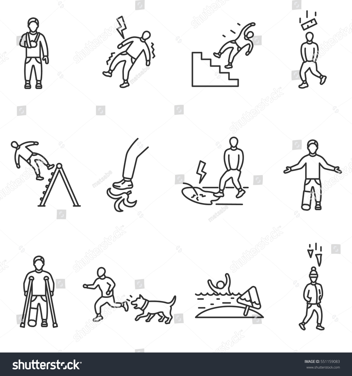 Accident Icons Set Cases Physical Injury Stock Vector Royalty Free