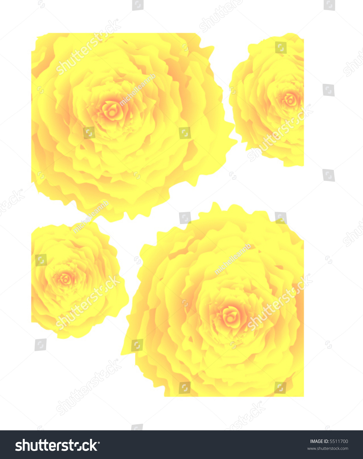 Yellow Carnation Flower Vector Style Background Stock Vector