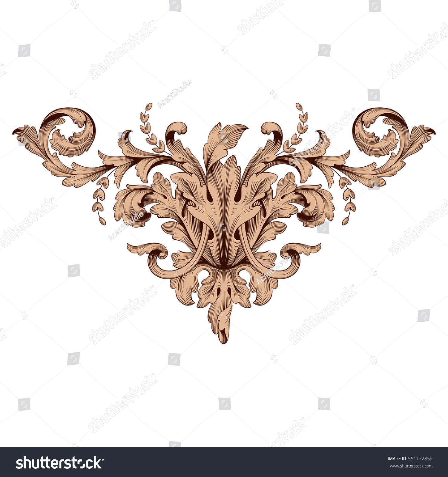 Vintage baroque ornament retro pattern antique stock for Acanthus decoration