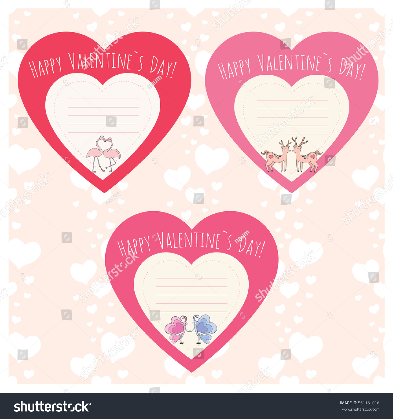Hearts With Couple Of Deer,flamingo And Butterfly. Valentineu0027s Day Template  Cards Or Stickers