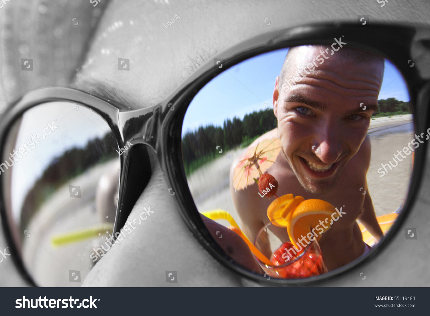 Funny Guy Cocktail Reflecting Sunglasses Stock Photo (Edit