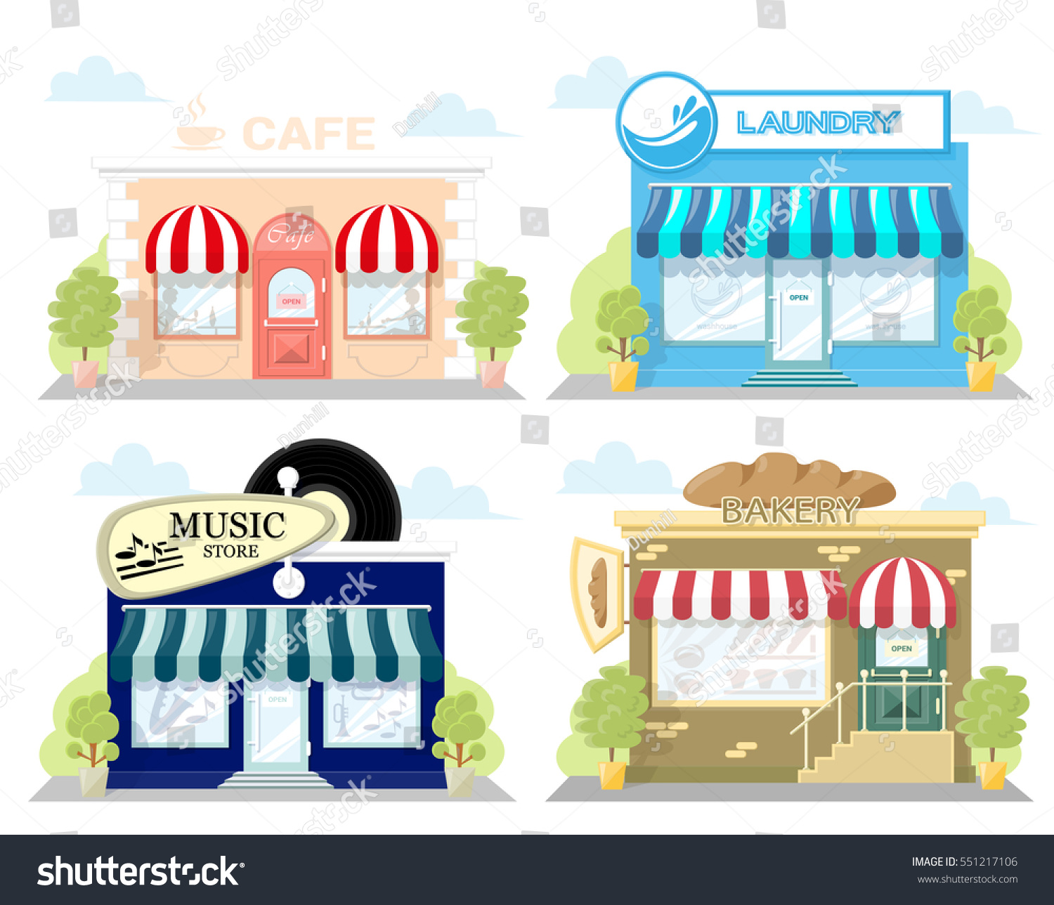 set front facade buildings music store stock vector 551217106 shutterstock. Black Bedroom Furniture Sets. Home Design Ideas