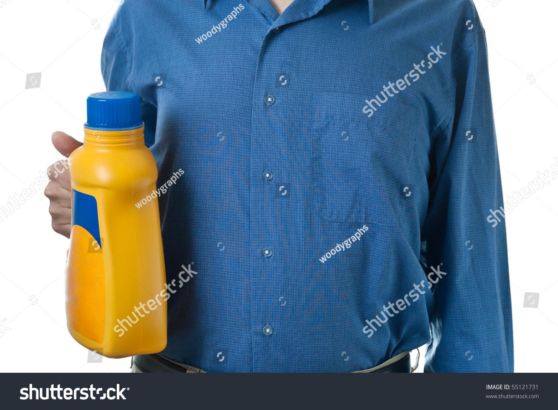 Man blue dress shirt holding bottle stock photo 55121731 for Best detergent for dress shirts