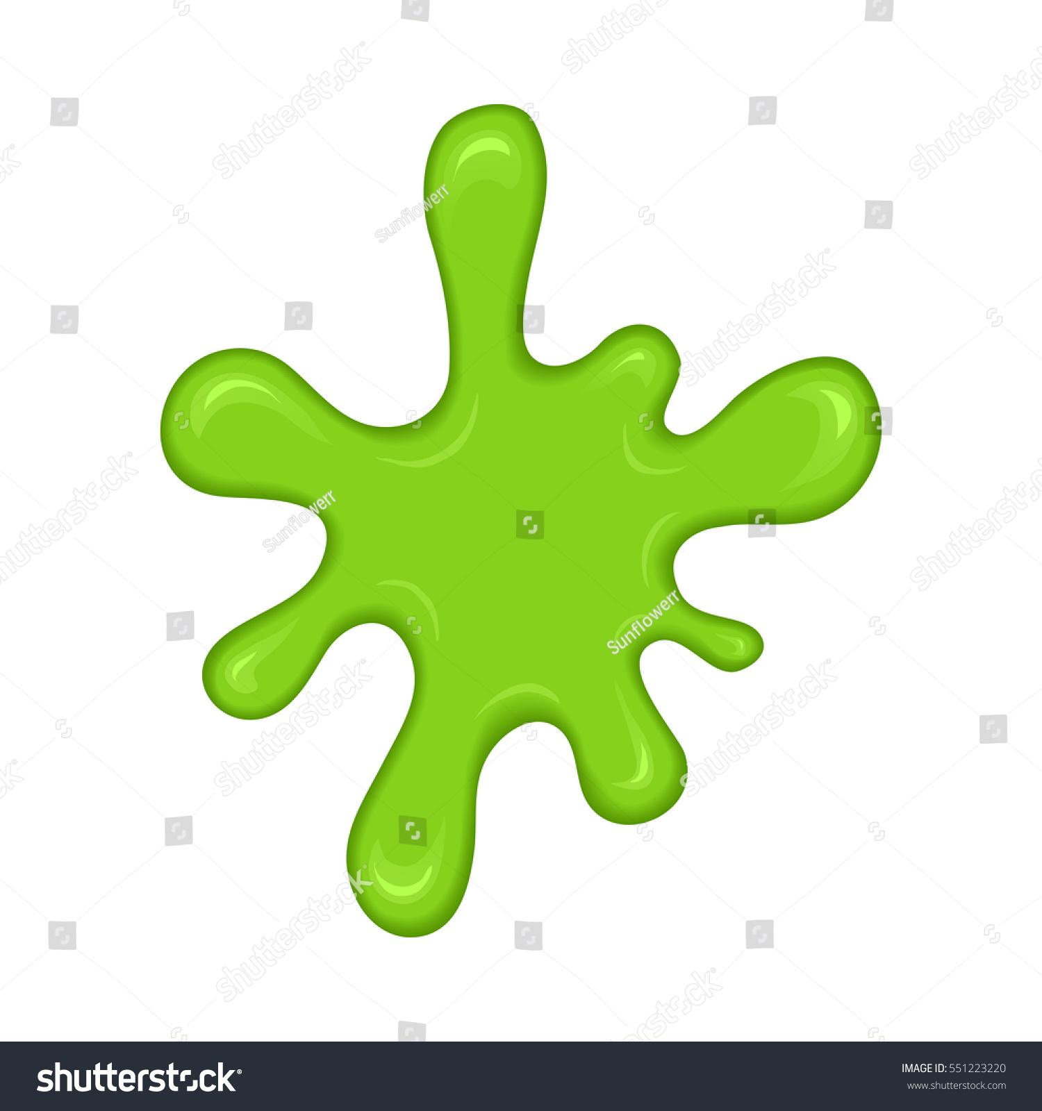 Green Slime Splash Blot Slime Blot Isolated On White Background