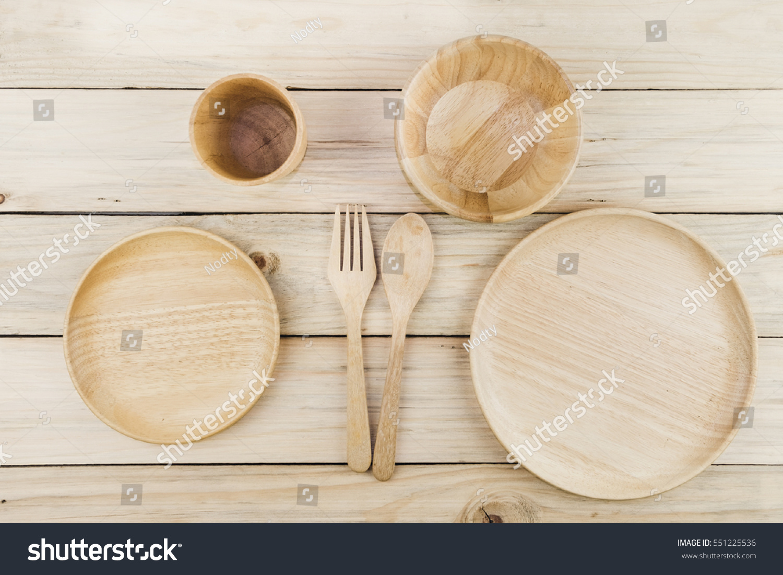 Wooden Kitchenware Utensils Set Wooden Plate Stock Photo 551225536 ...