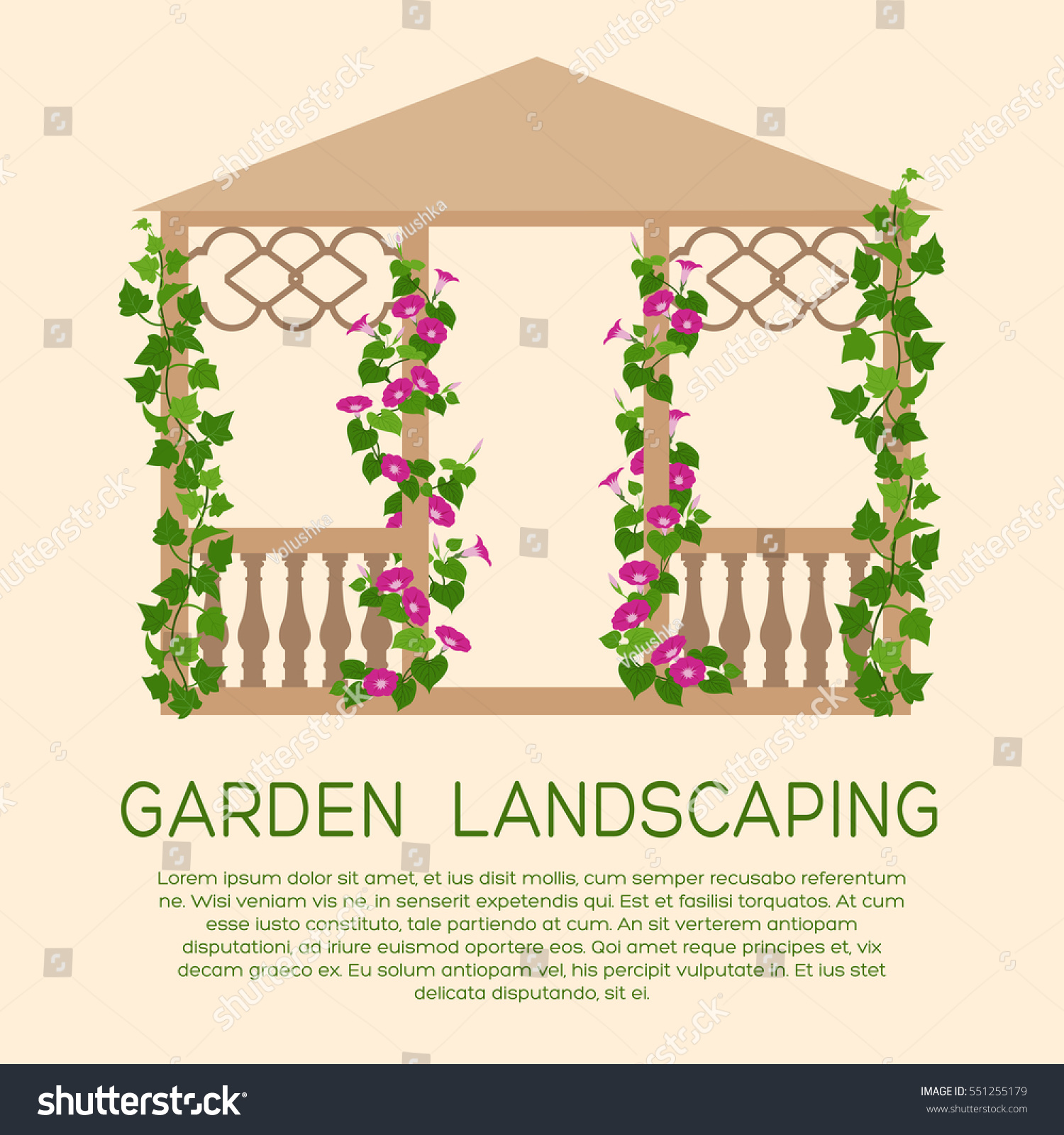 Vertical Garden Design With Gazebo Installation Garden wooden pavilion. Element of landscape design. Colored gardening icon  with text. Illustration of vertical gardening by climbing plants in flat  style.