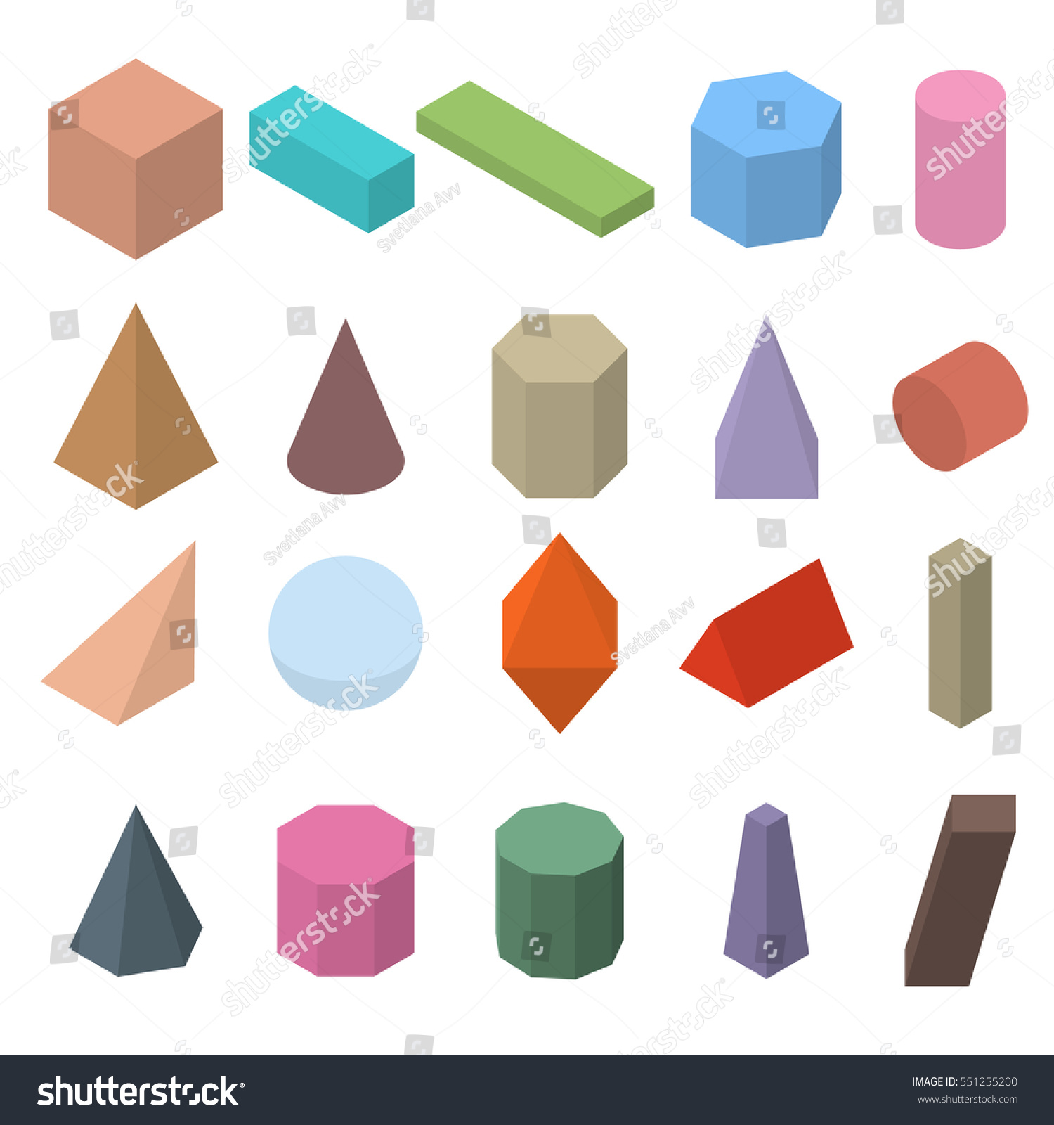 Set 3d geometric shapes isometric views stock vector 551255200 set of 3d geometric shapes isometric views the science of geometry and math buycottarizona Image collections