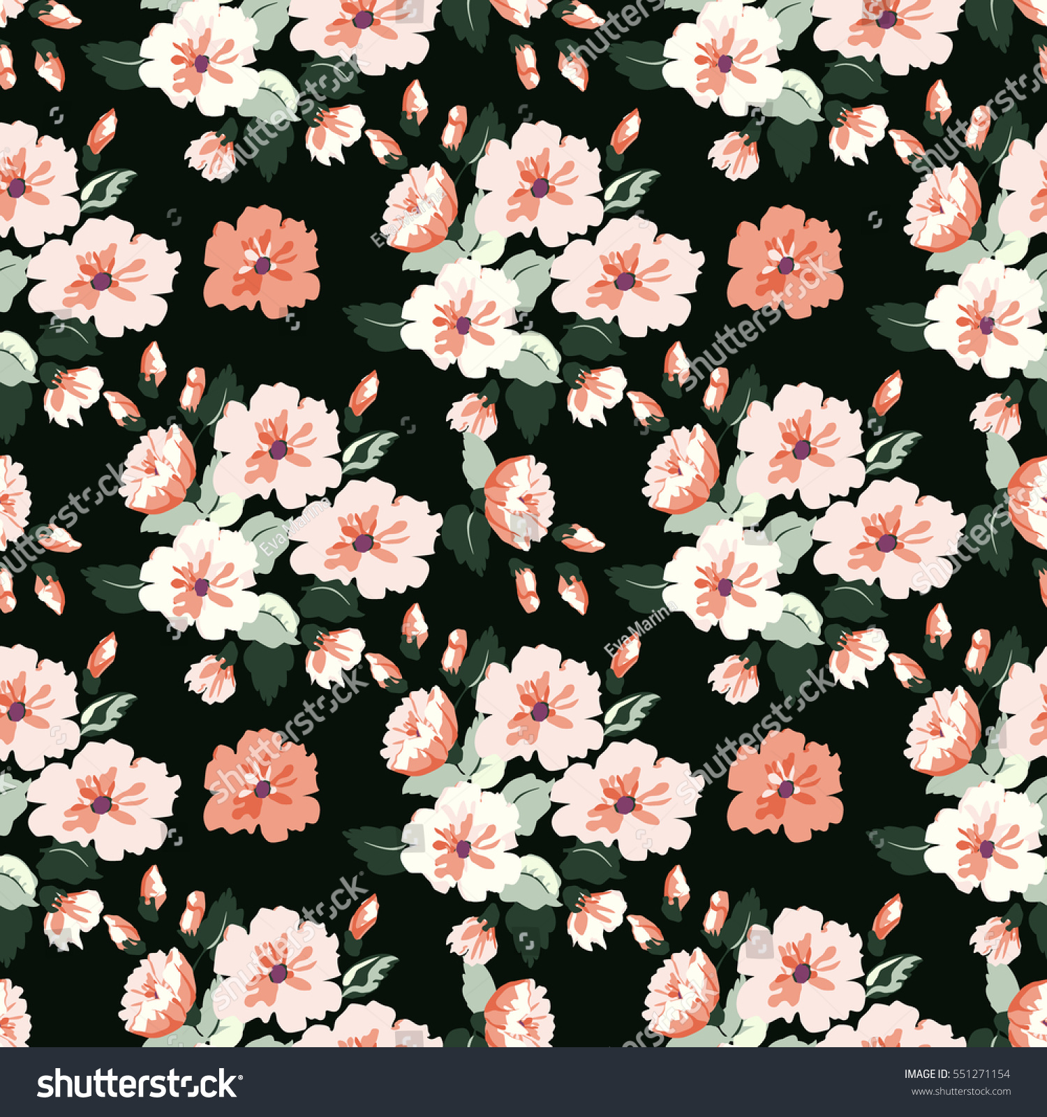 Seamless Cute Pattern Small Flowers Floral Stock Illustration