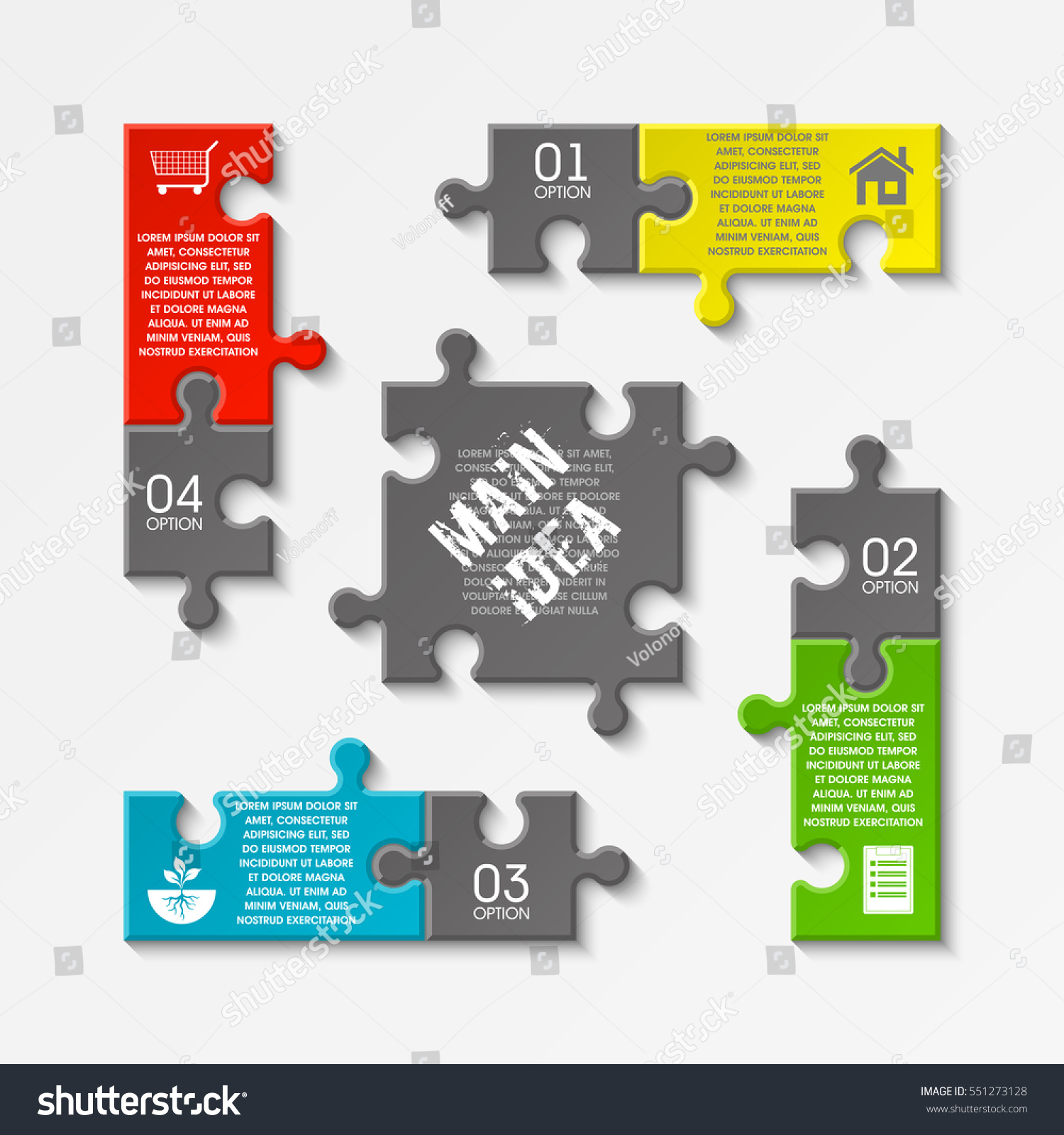 Puzzle Four Piece Business Presentation Square Stock Vector HD ...
