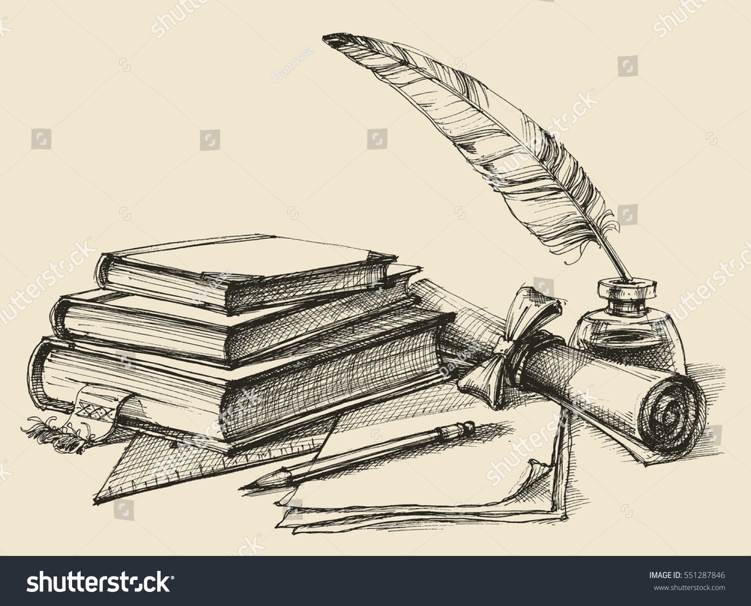 Stack Books Paper Pencil Scroll Quill Stock Vector