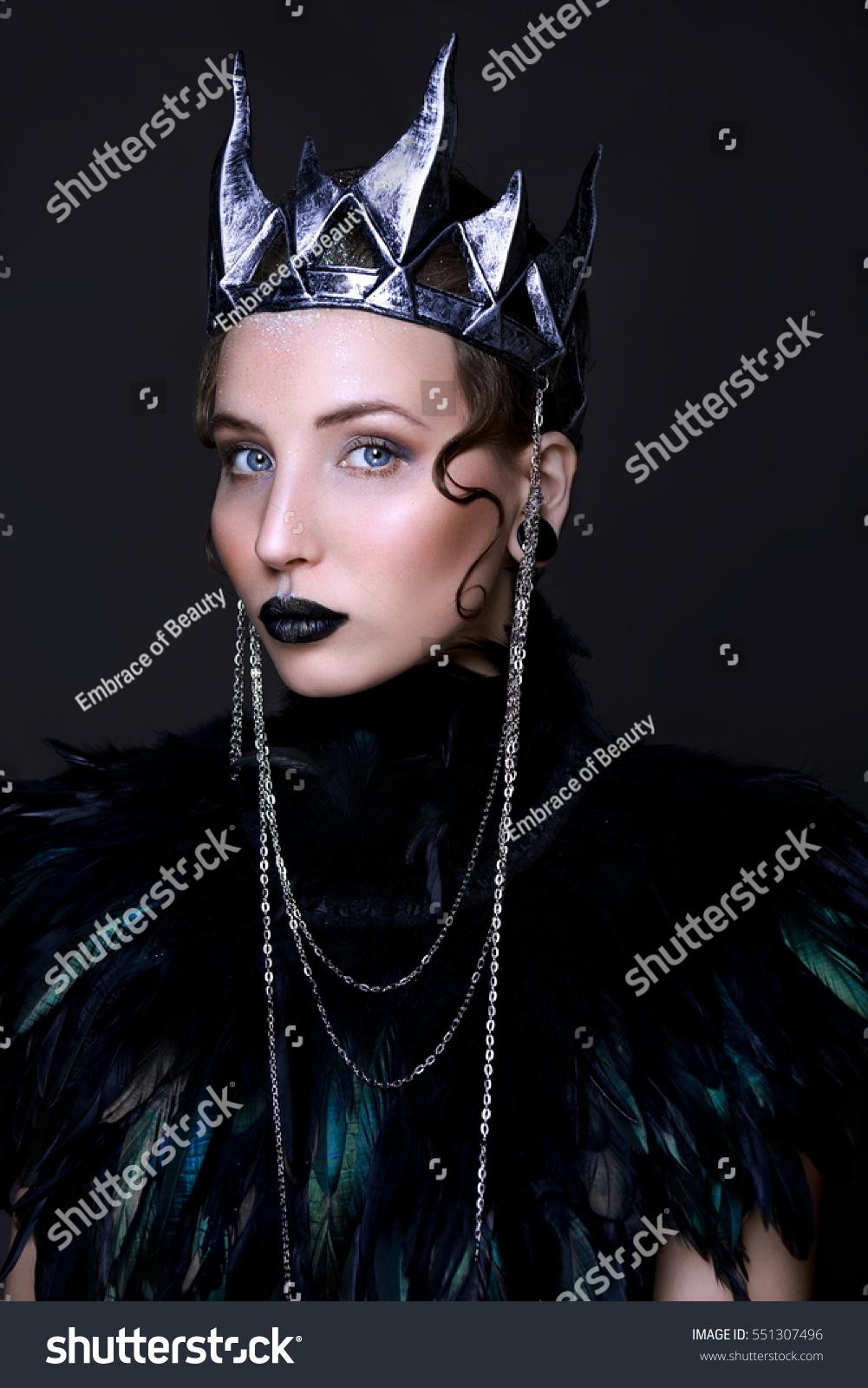 evil queen black lips halloween makeup stock photo (edit now