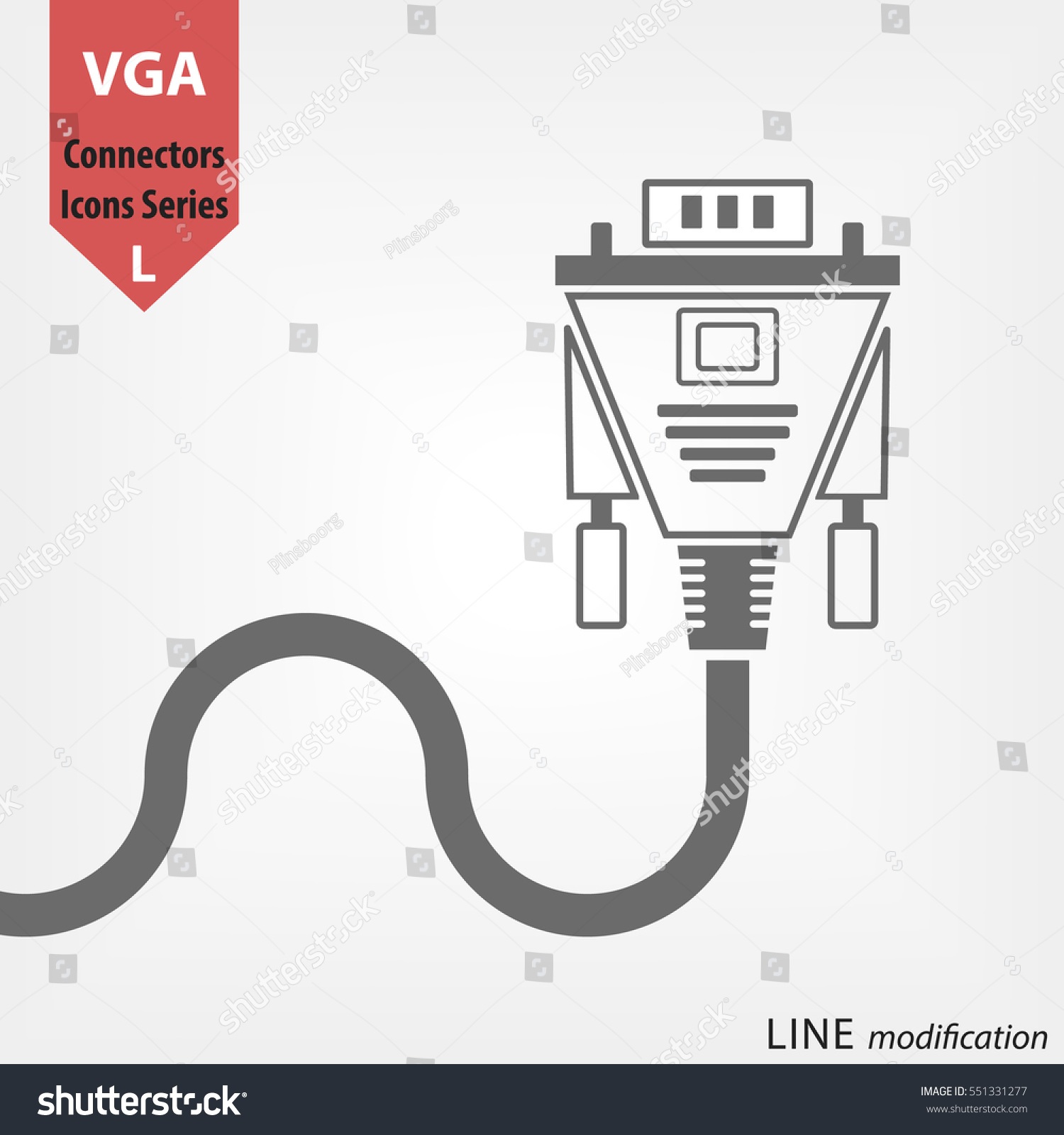 Vga Connector Line Vector Icon Digital Stock Royalty Free Wiring Diagram For Plug Video Transfer